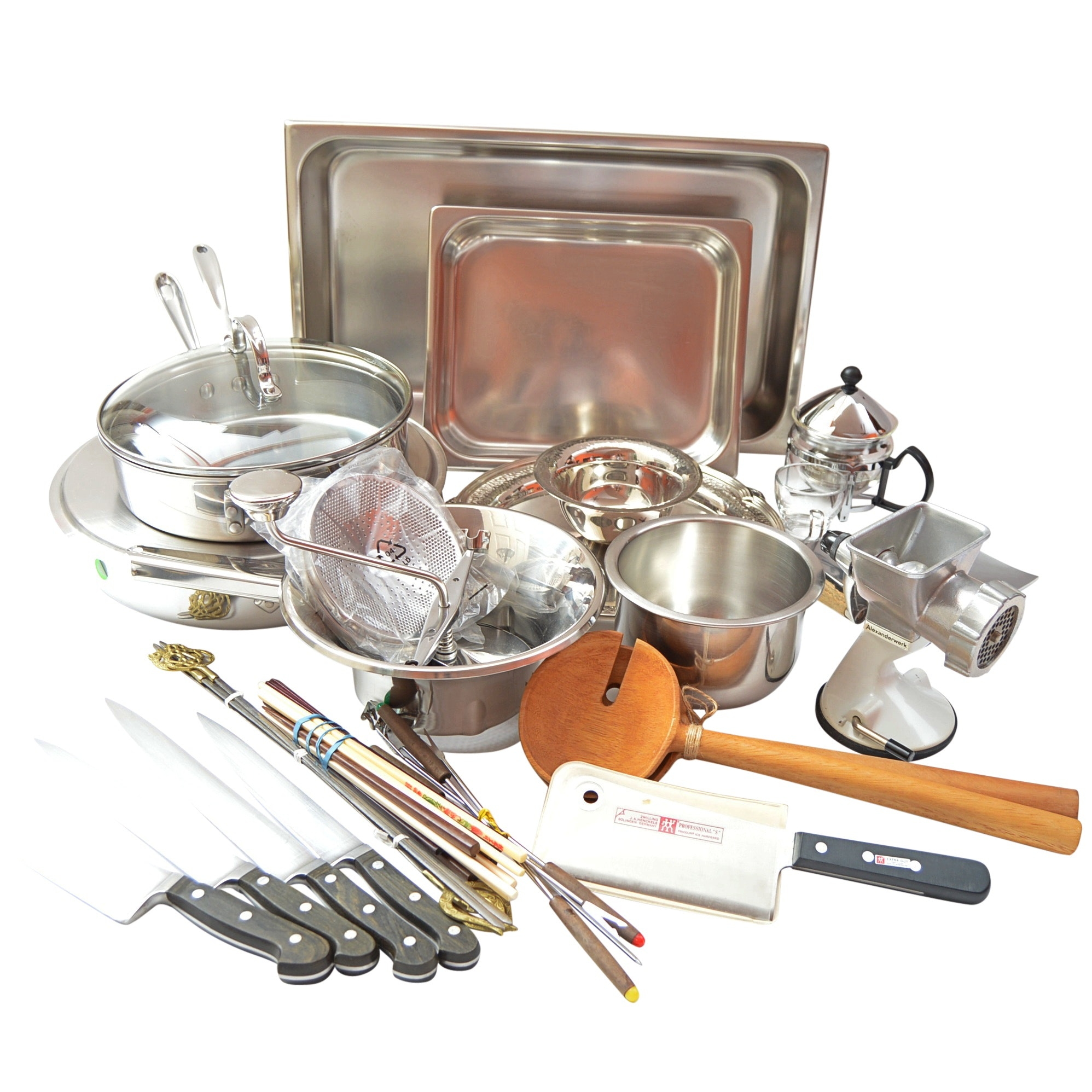 Kitchenware Including All-Clad Cookware, Henckles Knives