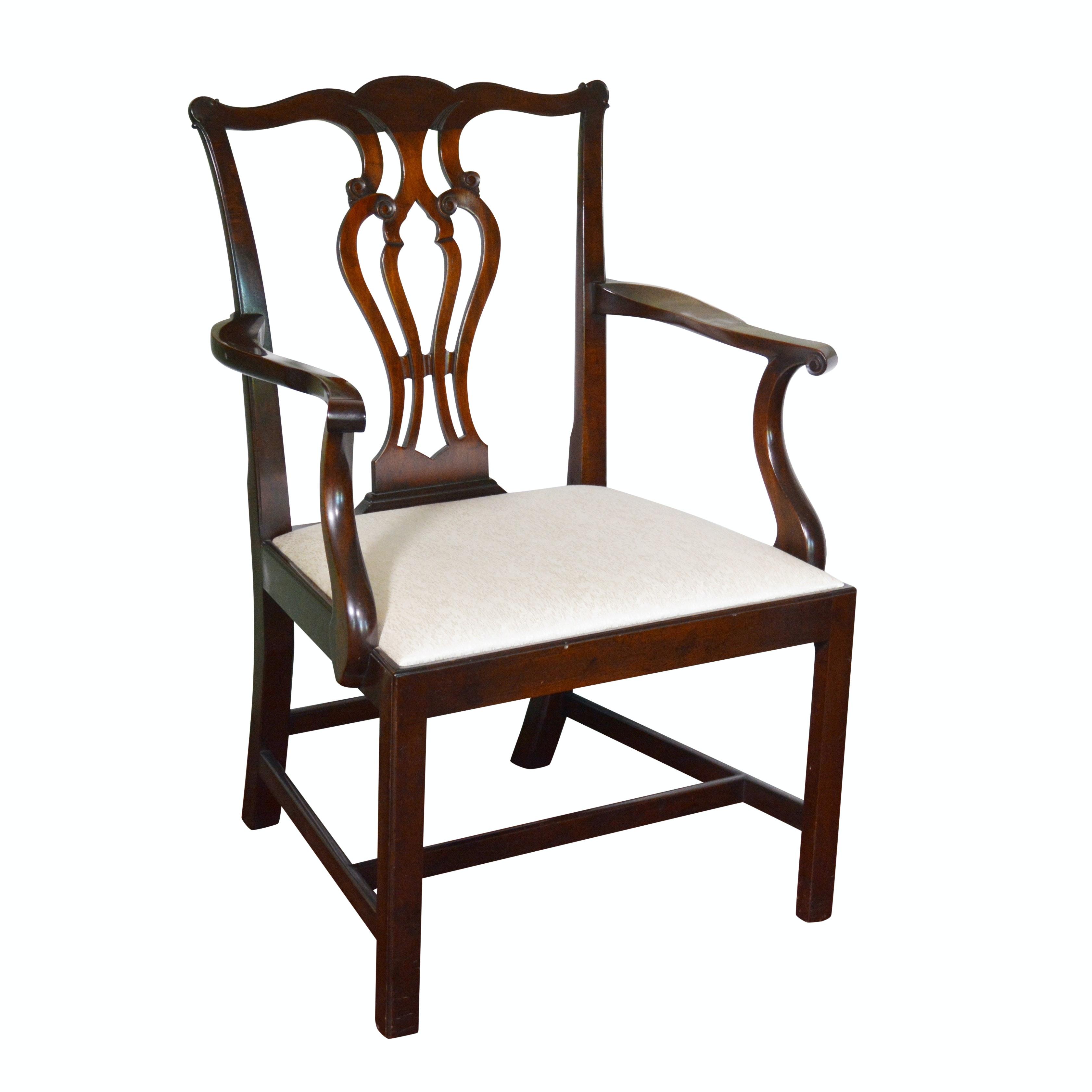 George III Style Mahogany Open Armchair, 20th Century