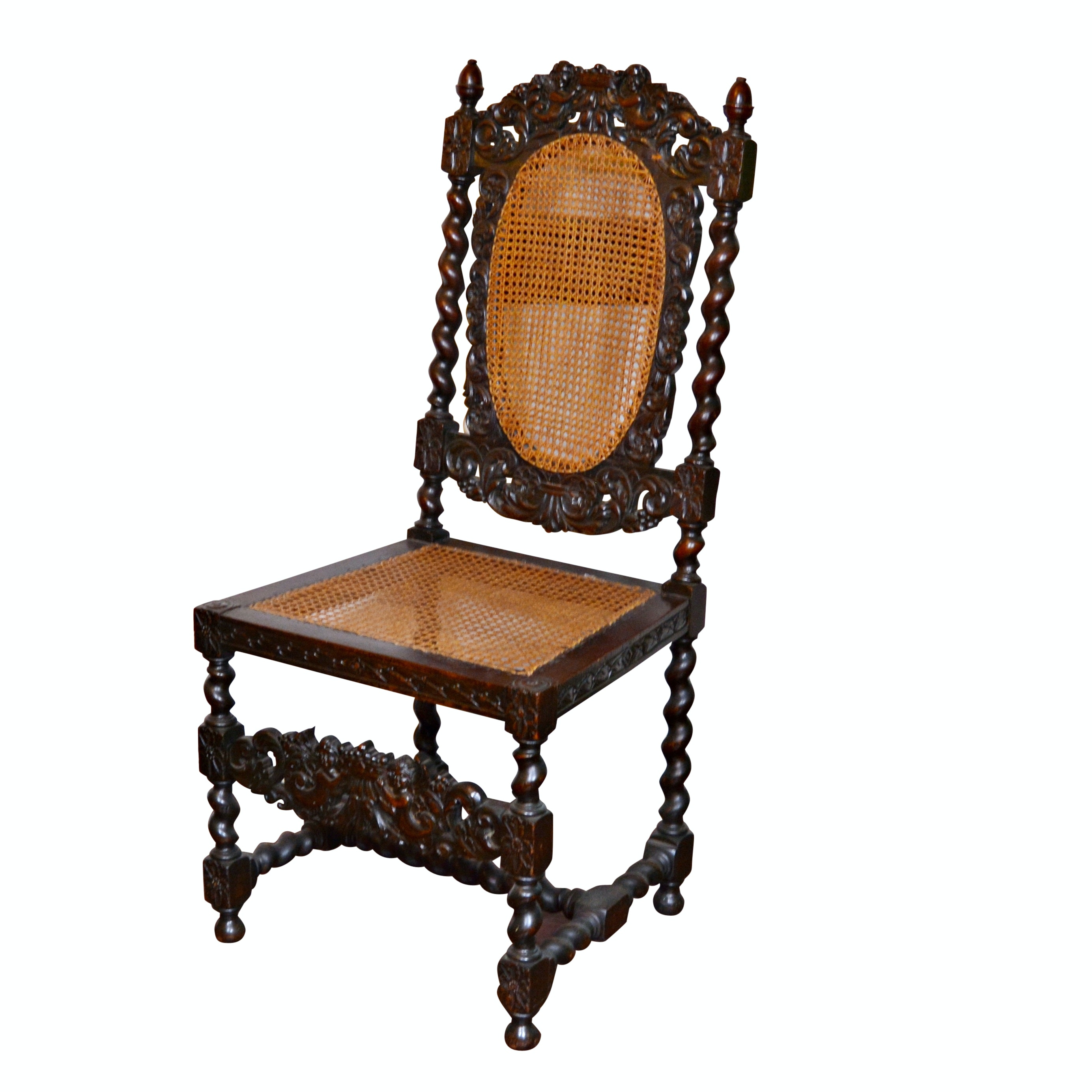 Jacobean Revival Walnut and Caned Open Armchair, Late 19th/Early 20th Century