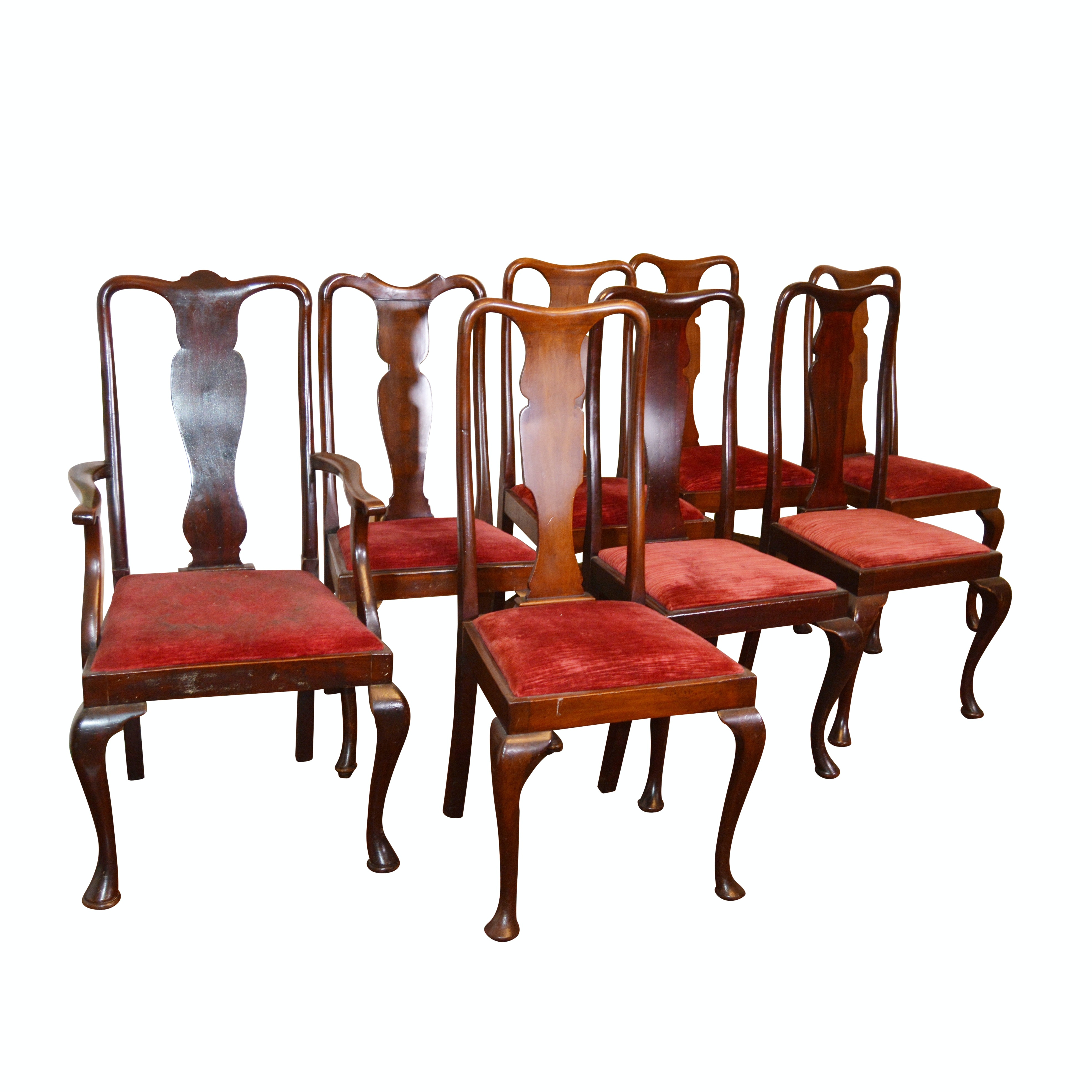 Set of Eight Queen Anne Style Mahogany Dining Chairs, 20th Century