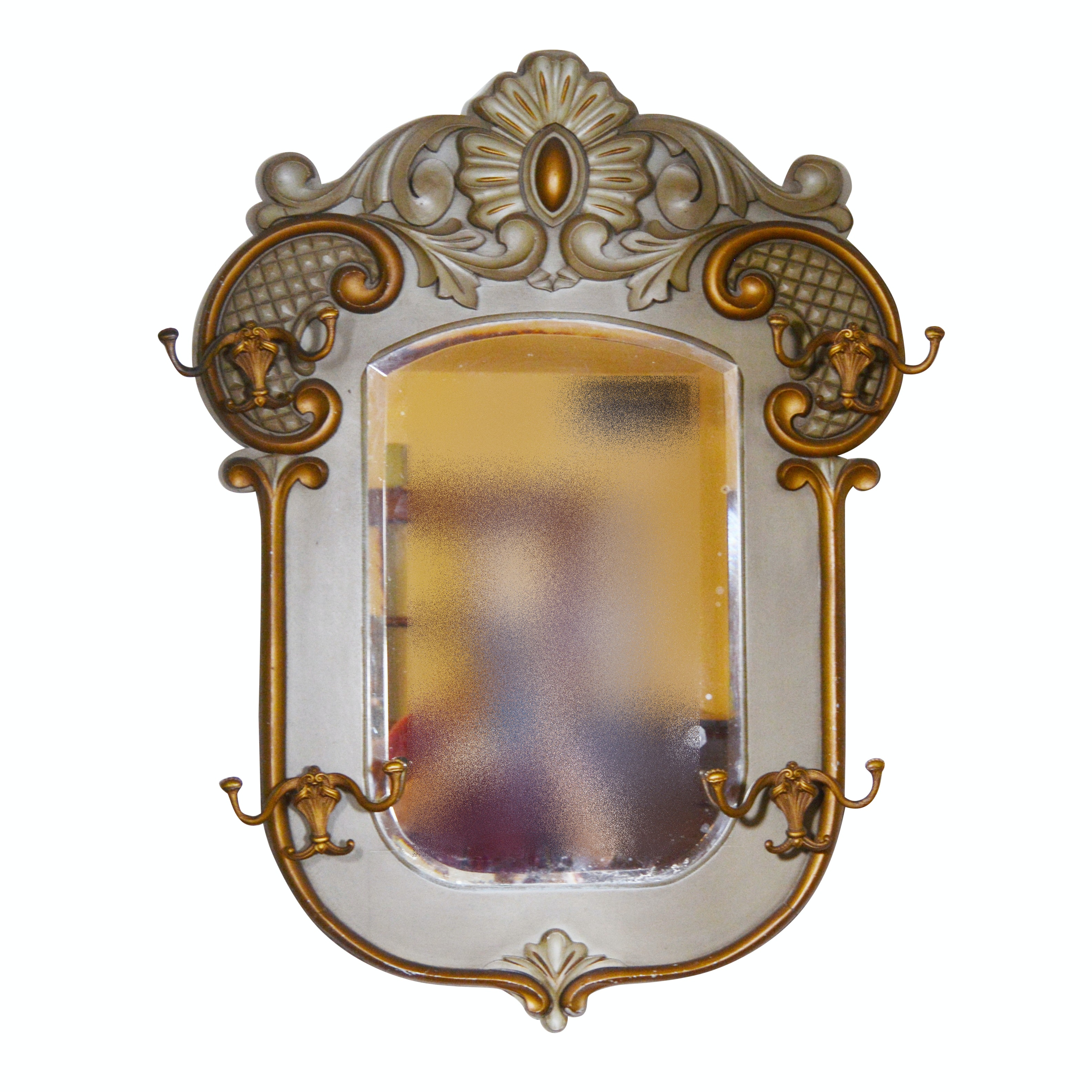 Vintage Wall Mirror With Hat Hooks