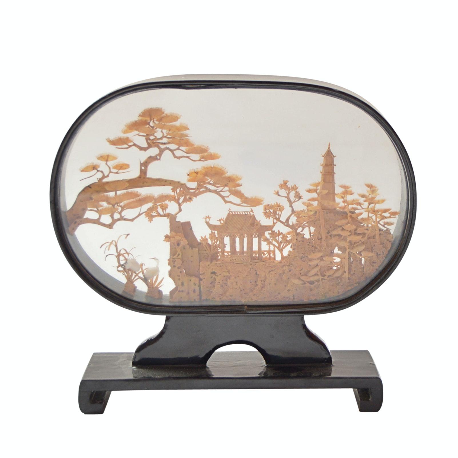 Chinese Carved Cork Diorama
