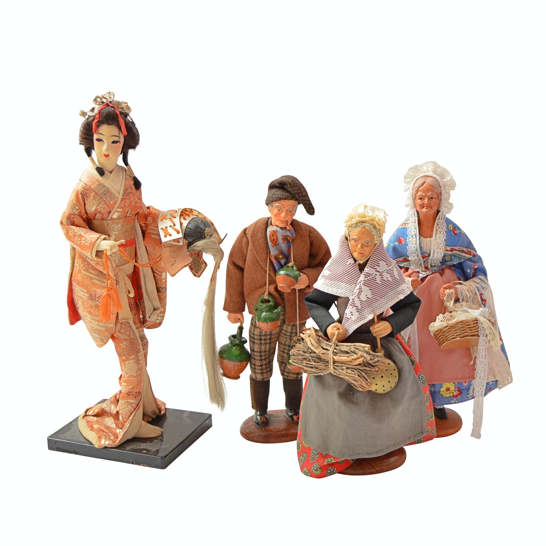 Vintage M. Chave Aubagne Terra Cotta Dolls, Plus Japanese Doll