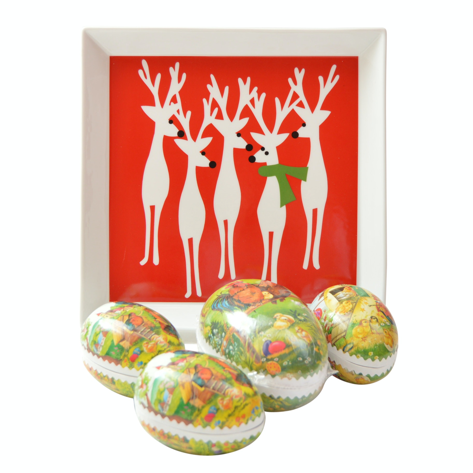 Crate & Barrel Holiday Plate and German Papier-Mâché Easter Eggs