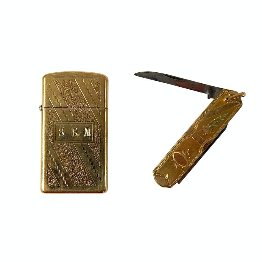 Zipper Engraved Lighter and Gold-Tone Engraved Pocket Knife
