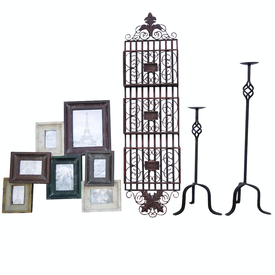 Frame Collage Floor Standing Wrought Iron Candle Holders And Metal Wall Decor