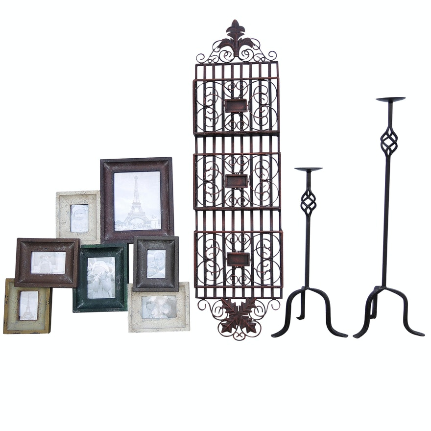 Frame Collage Floor Standing Wrought Iron Candle Holders And Metal
