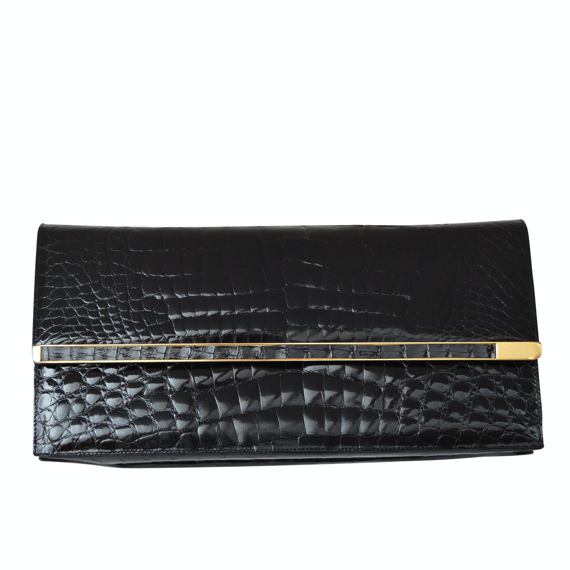 Susan of London Croc-Embossed Black Patent Leather Clutch Handbag