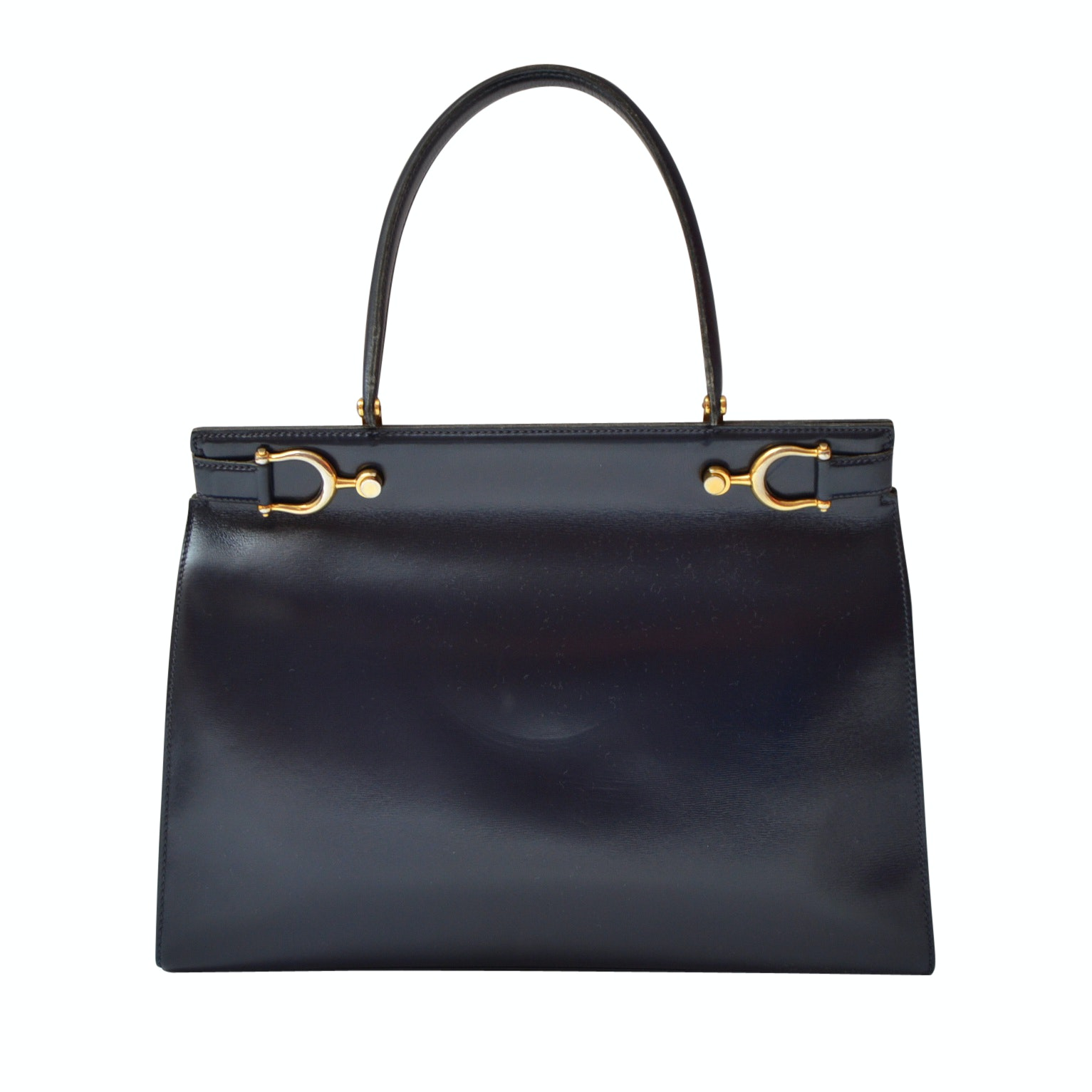 G Navy Blue Leather Top Handle Handbag