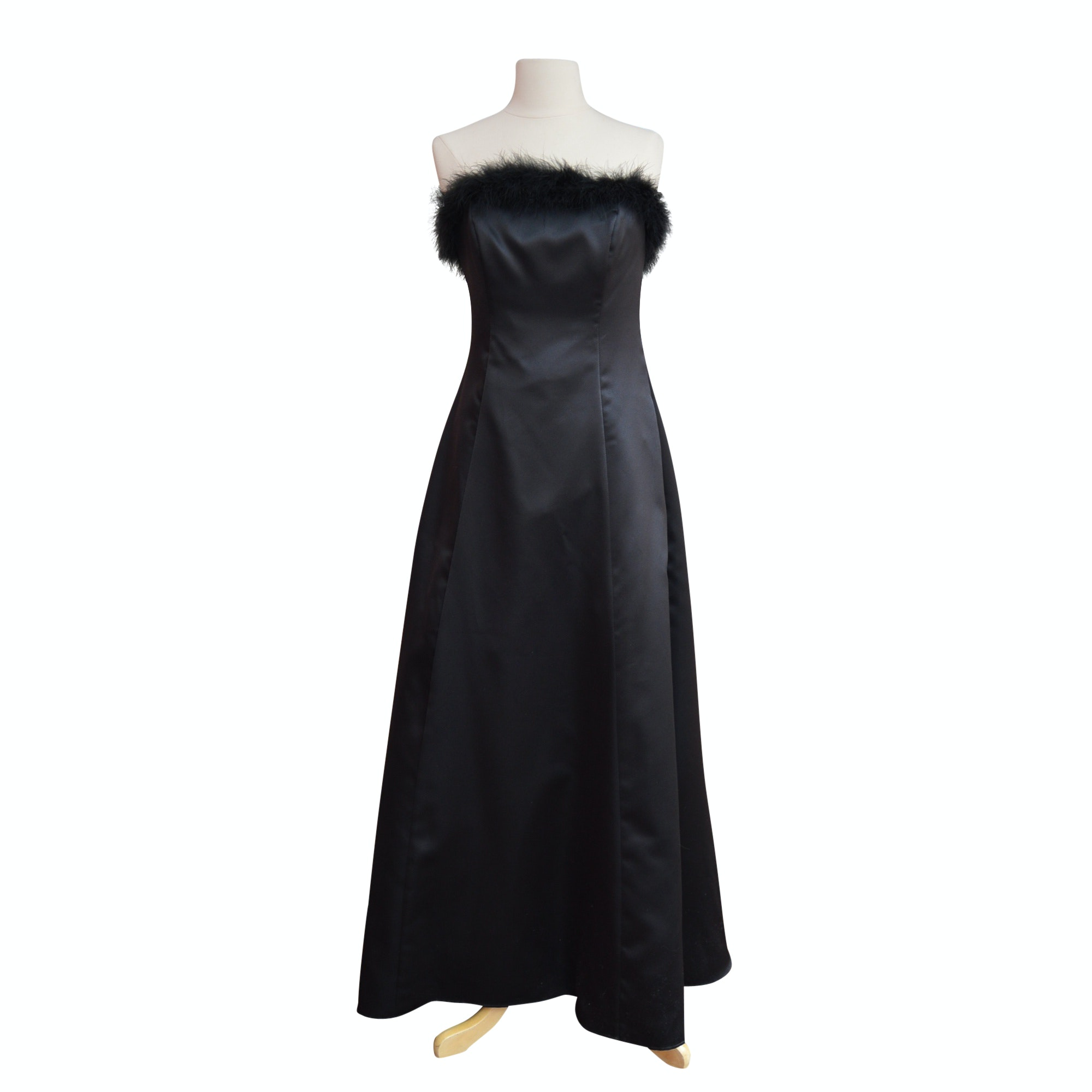 Vintage Black Satin Strapless Evening Gown with Marabou Feathers