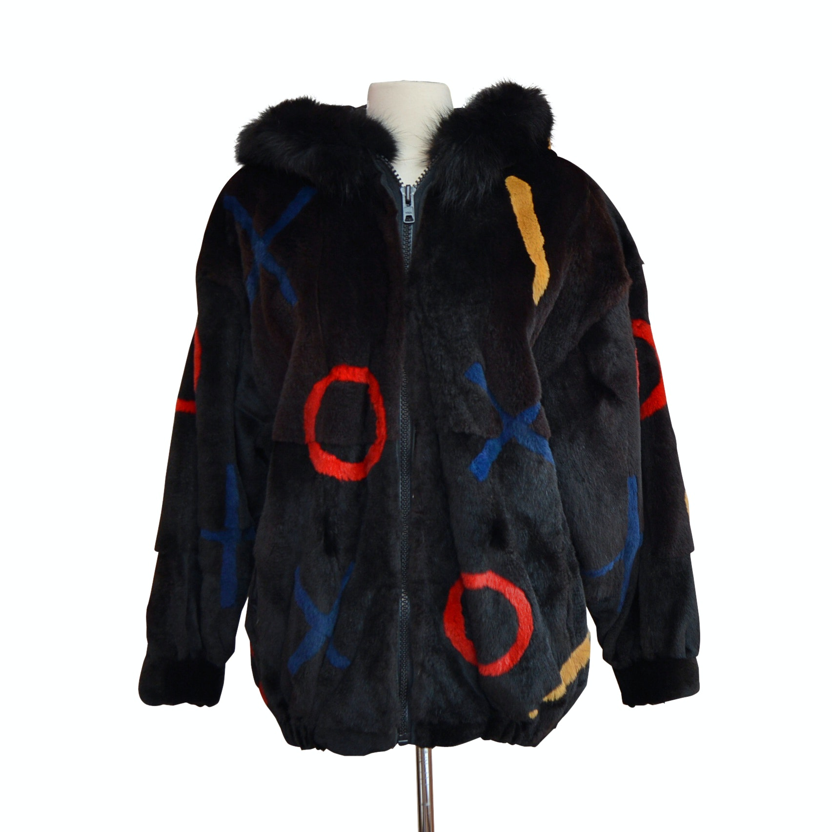 Dyed Black and Multicolor Sheared Beaver Jacket with Fox Fur Trim from Kotsovos