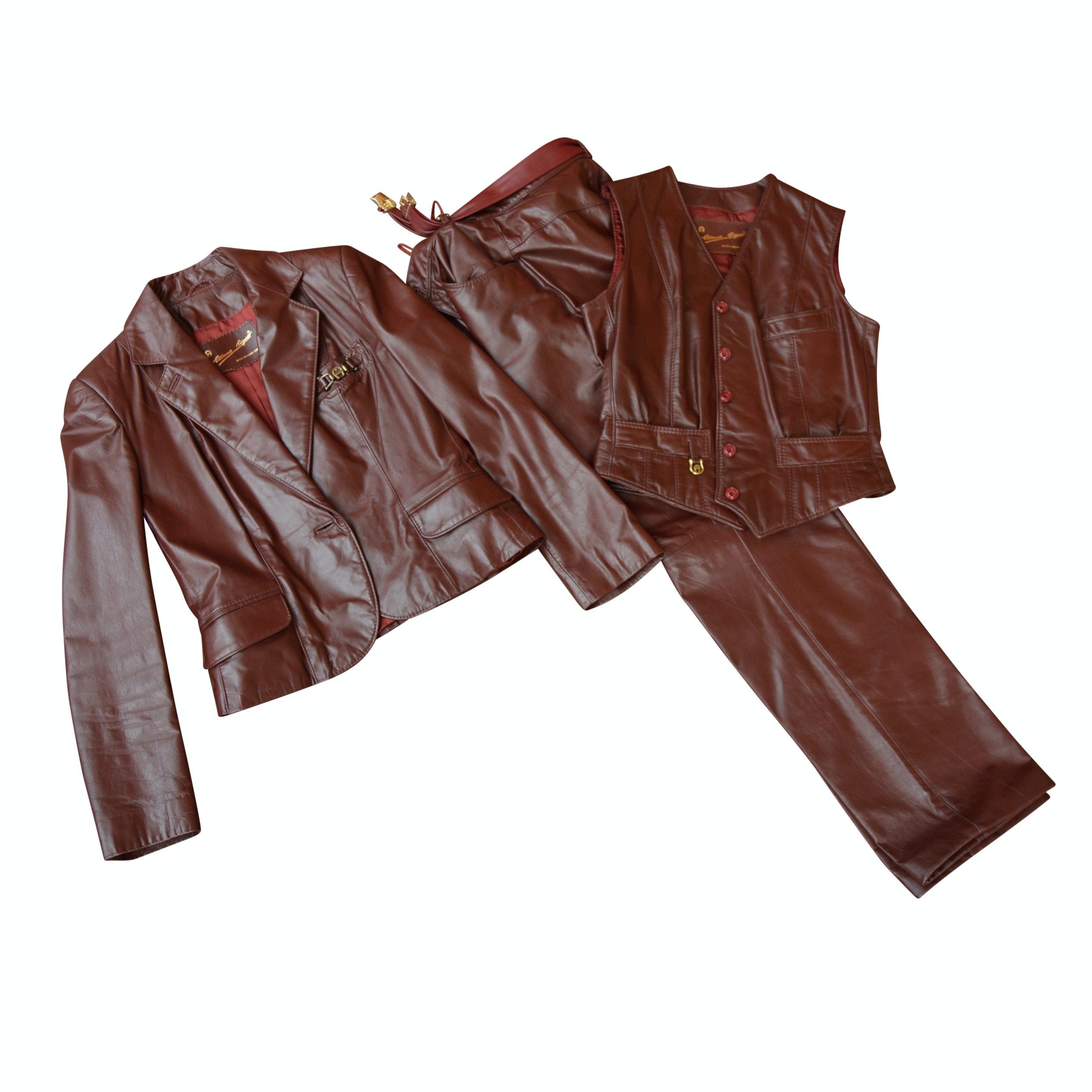 Women's Vintage Etienne Aigner Oxblood Leather Suit Ensemble