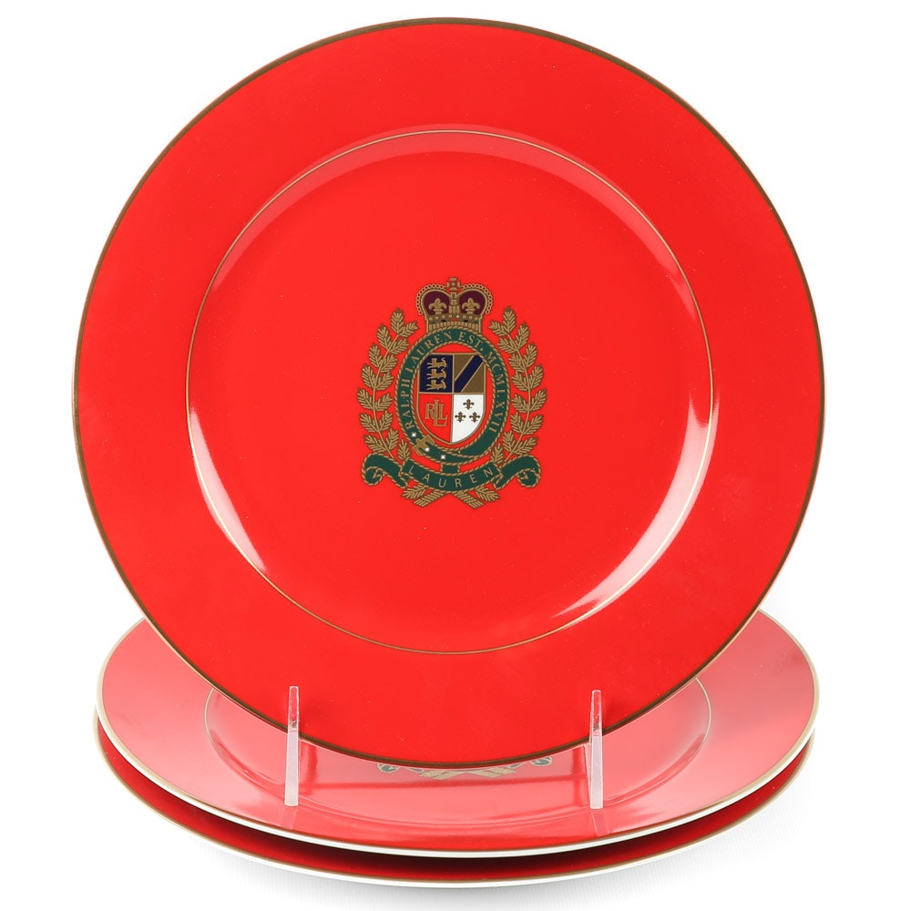 "Ralph Lauren ""Estate Crest"" Red Porcelain Plates"