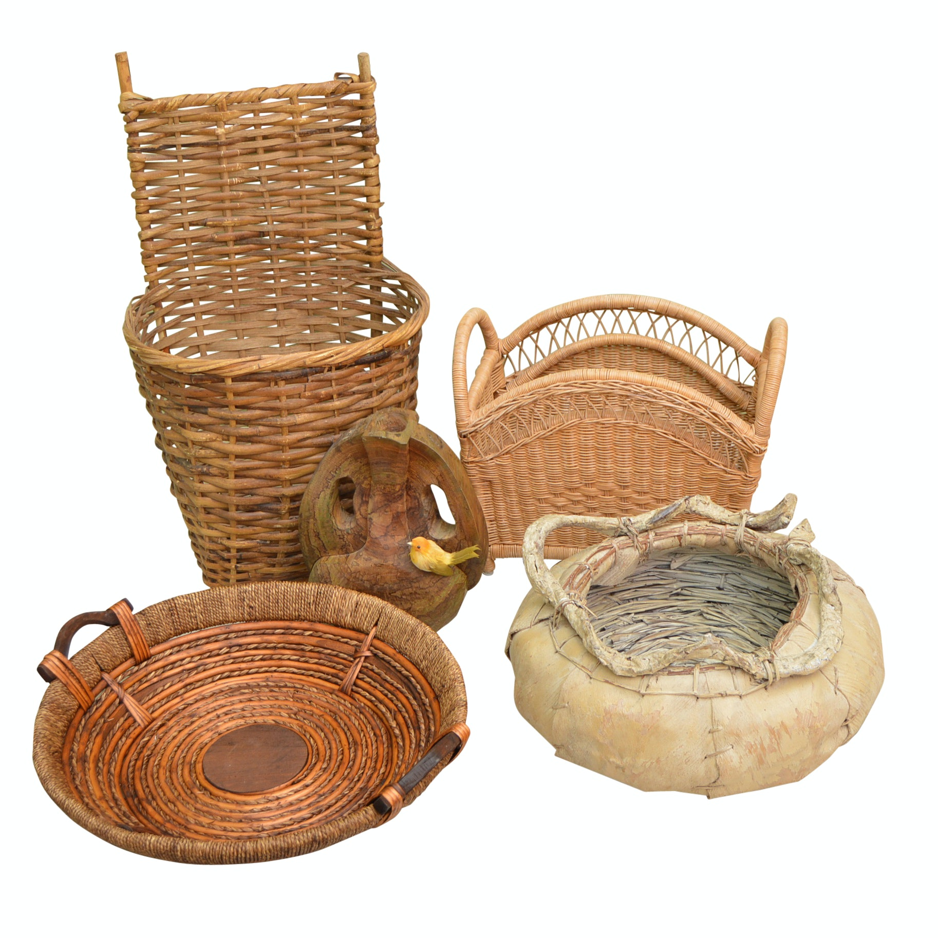 Collection of Baskets, with Signed Wood Vase and Birchbark Basket