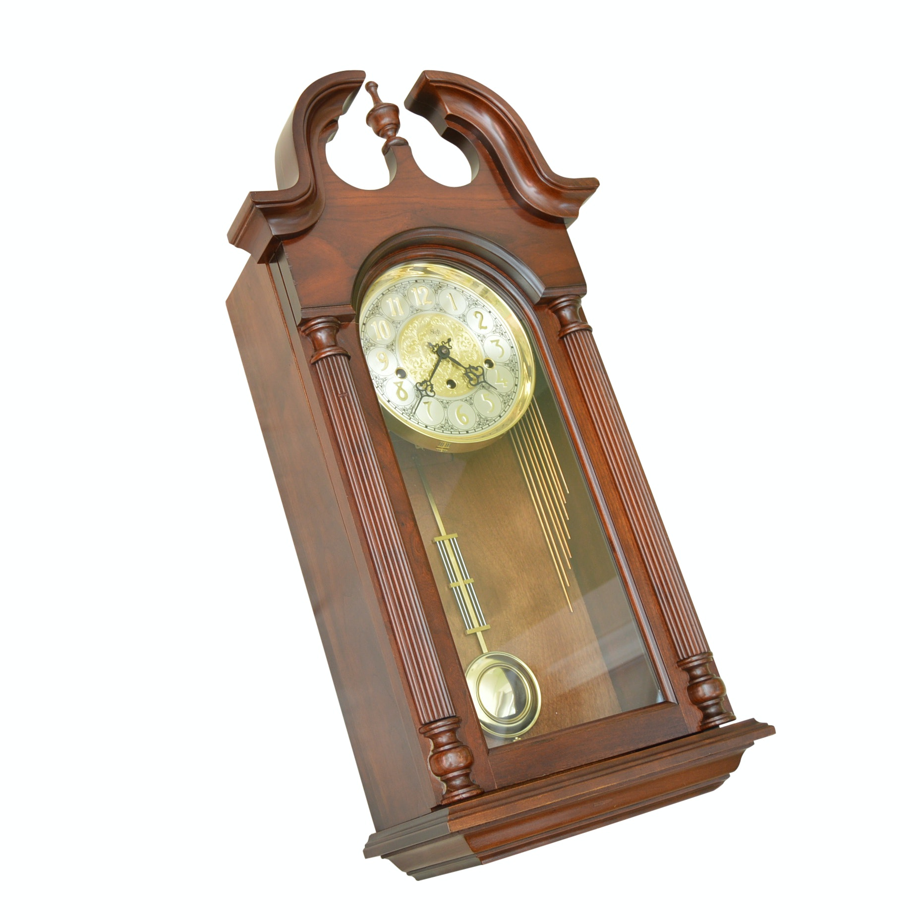 Sligh Chippendale Style Mahogany Wall Clock