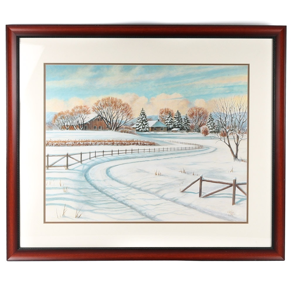 """After Ron Jenkins Offset Lithograph """"Winter Scene I"""""""