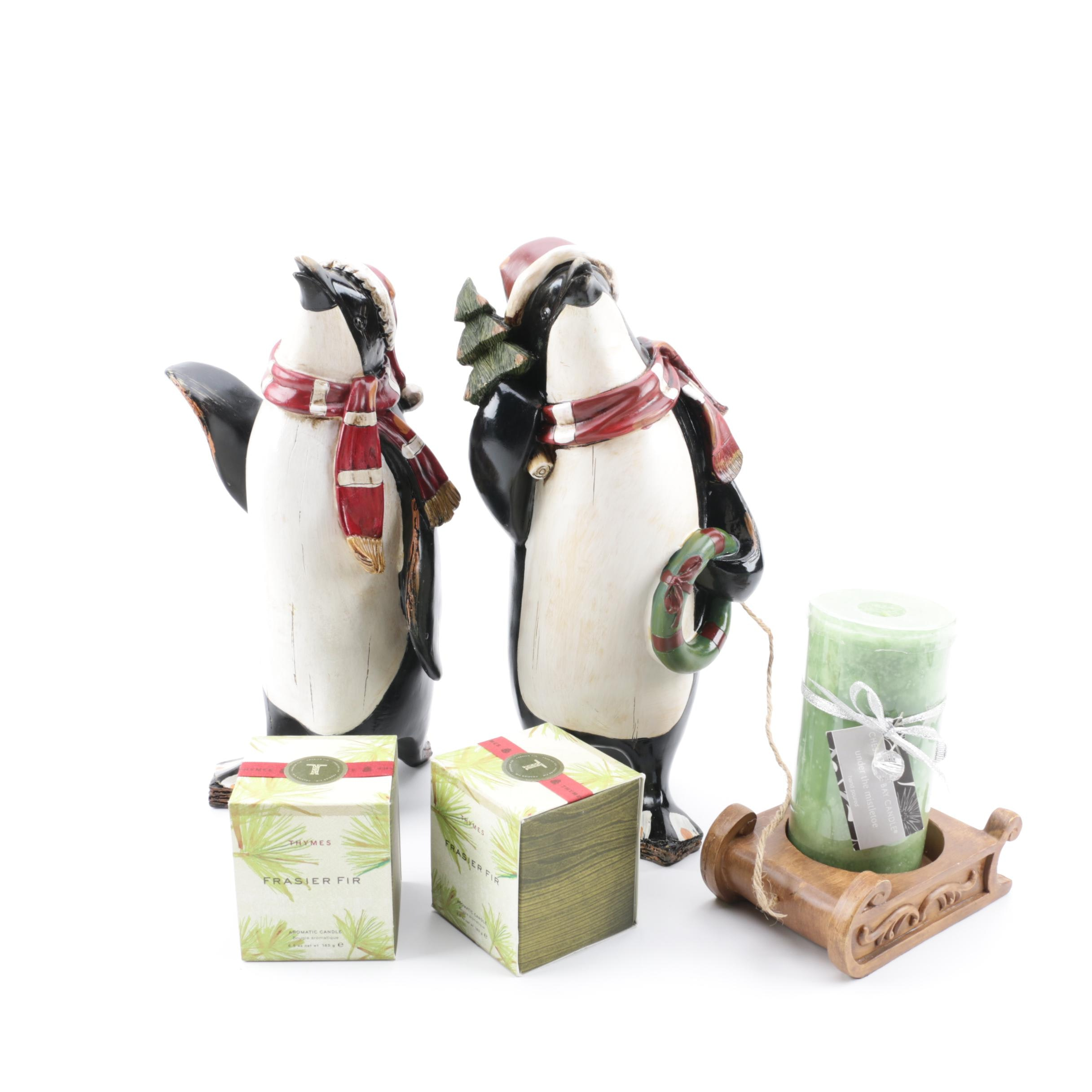 Penguin Figurative Candle Holder with Thymes and Chesapeake Bay Candles