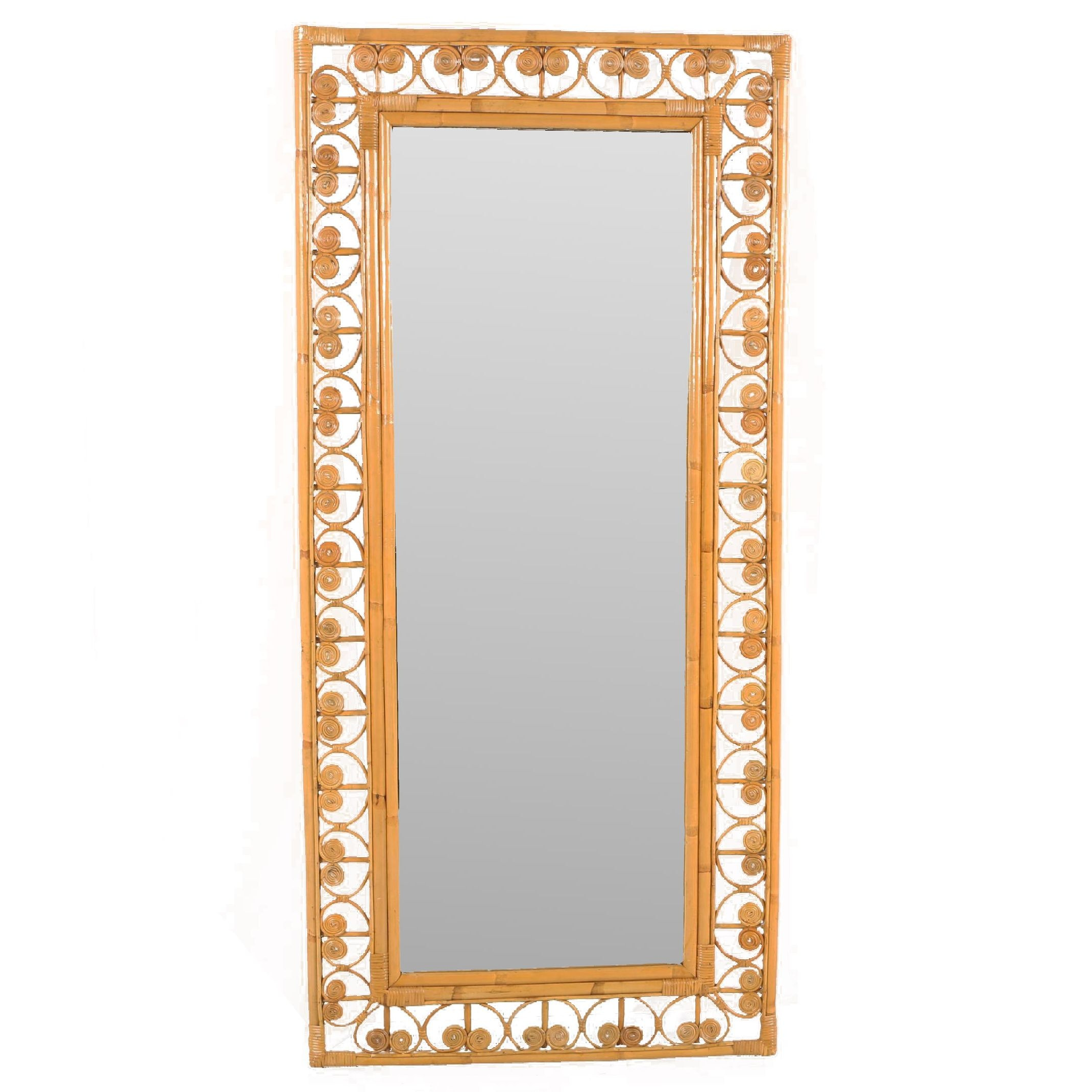 Bamboo Framed Full Length Wall Mirror with Scrolled Accents