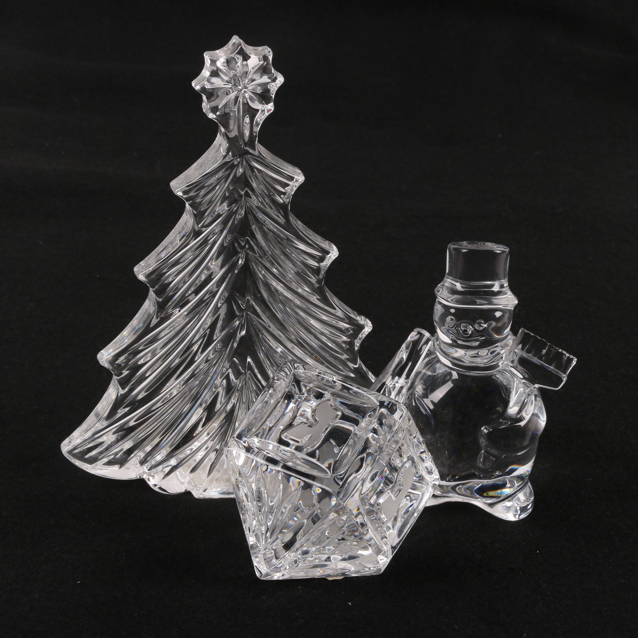 Waterford Crystal Dreidel and Christmas Tree with Baccarat Crystal Snowman