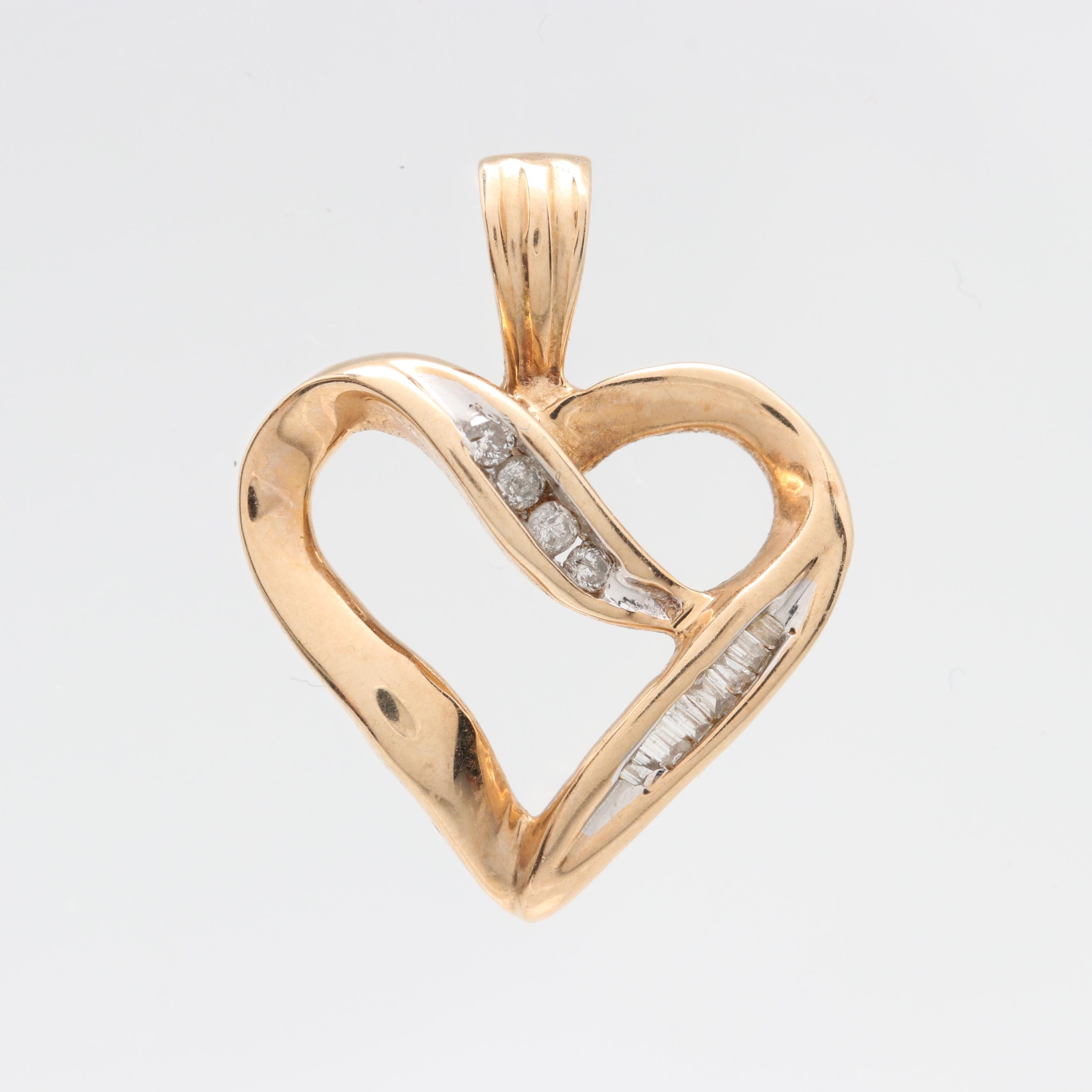 10K Yellow Gold Diamond Open Heart Pendant