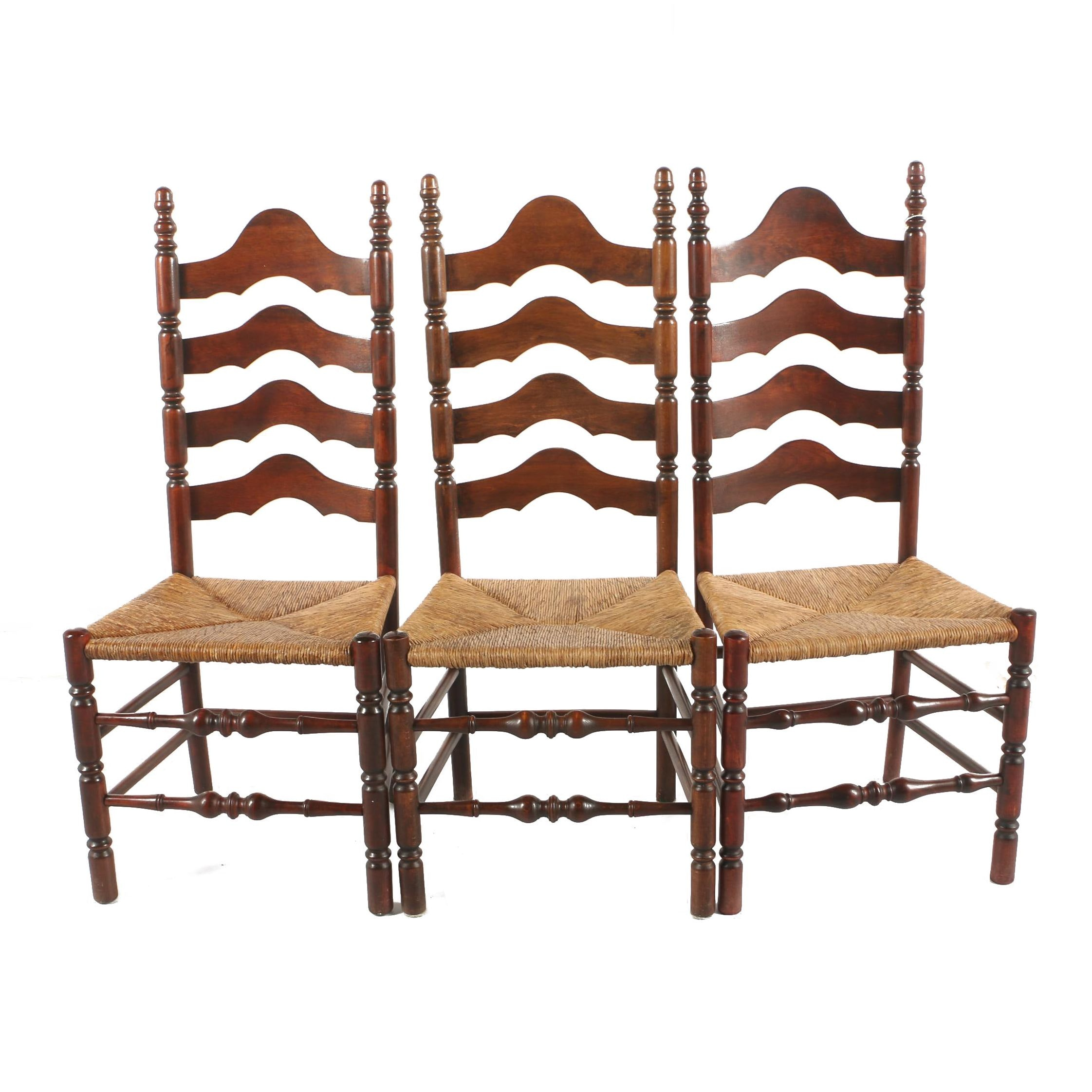 Vintage Ladder Back Side Chairs with Rush Seats