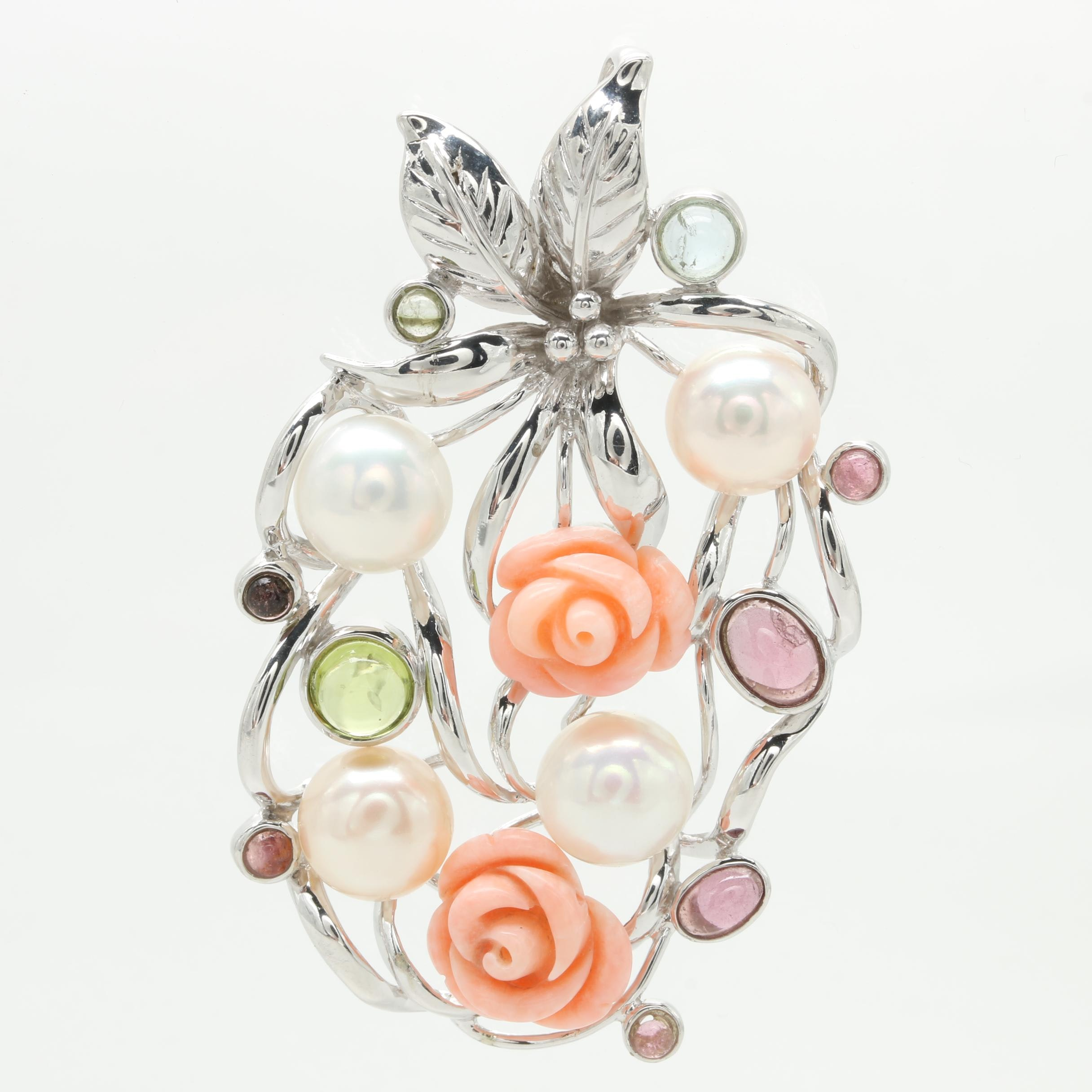 Sterling Silver Gemstone Pendant Including Cultured Pearl, Coral, and Peridot