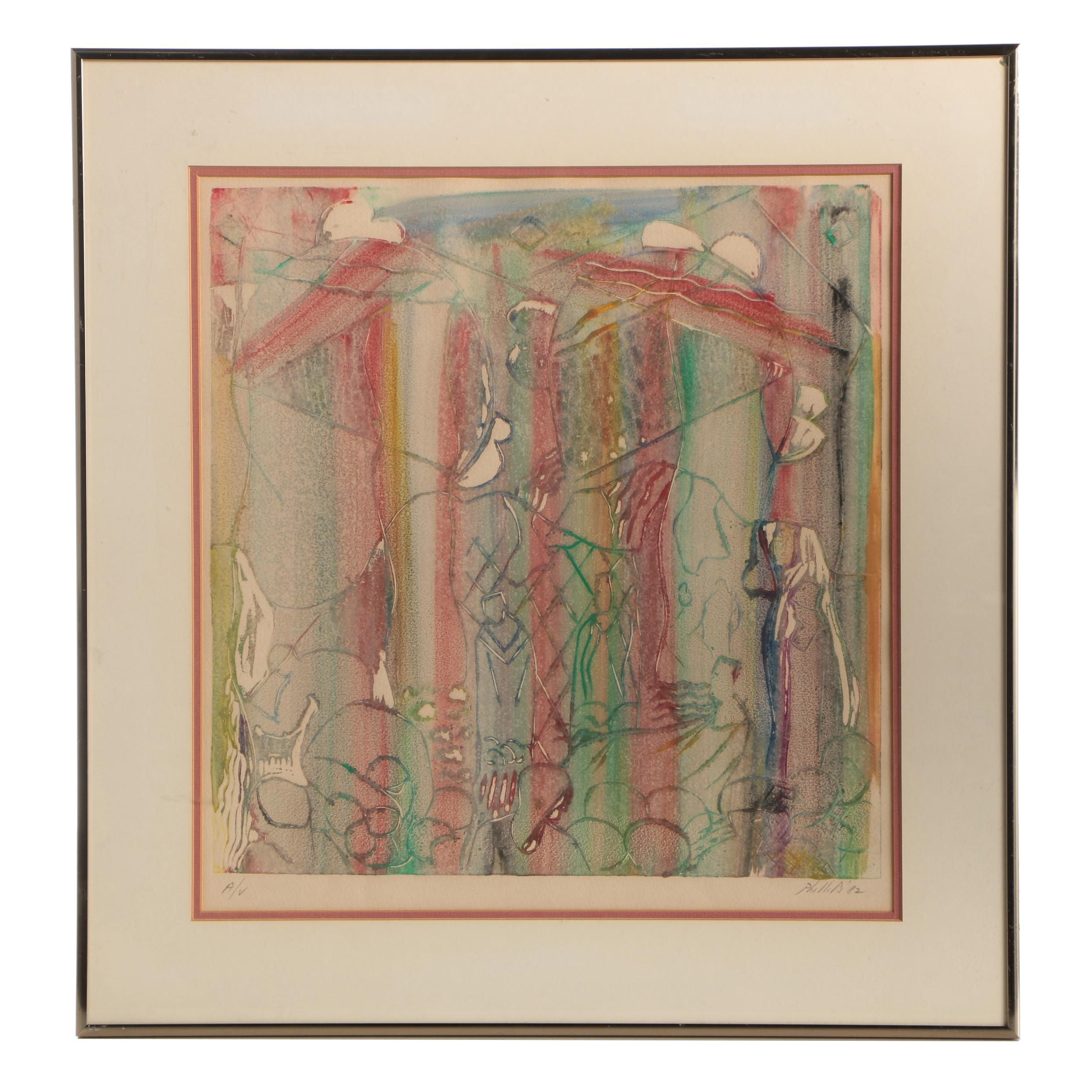 Phillips 1982 Abstract Color Lithograph