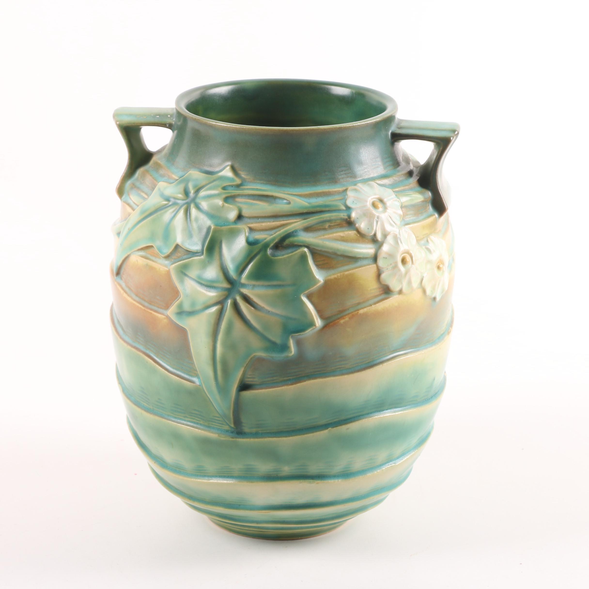 "Roseville Pottery ""Luffa"" Double Handled Vase, Circa 1934"