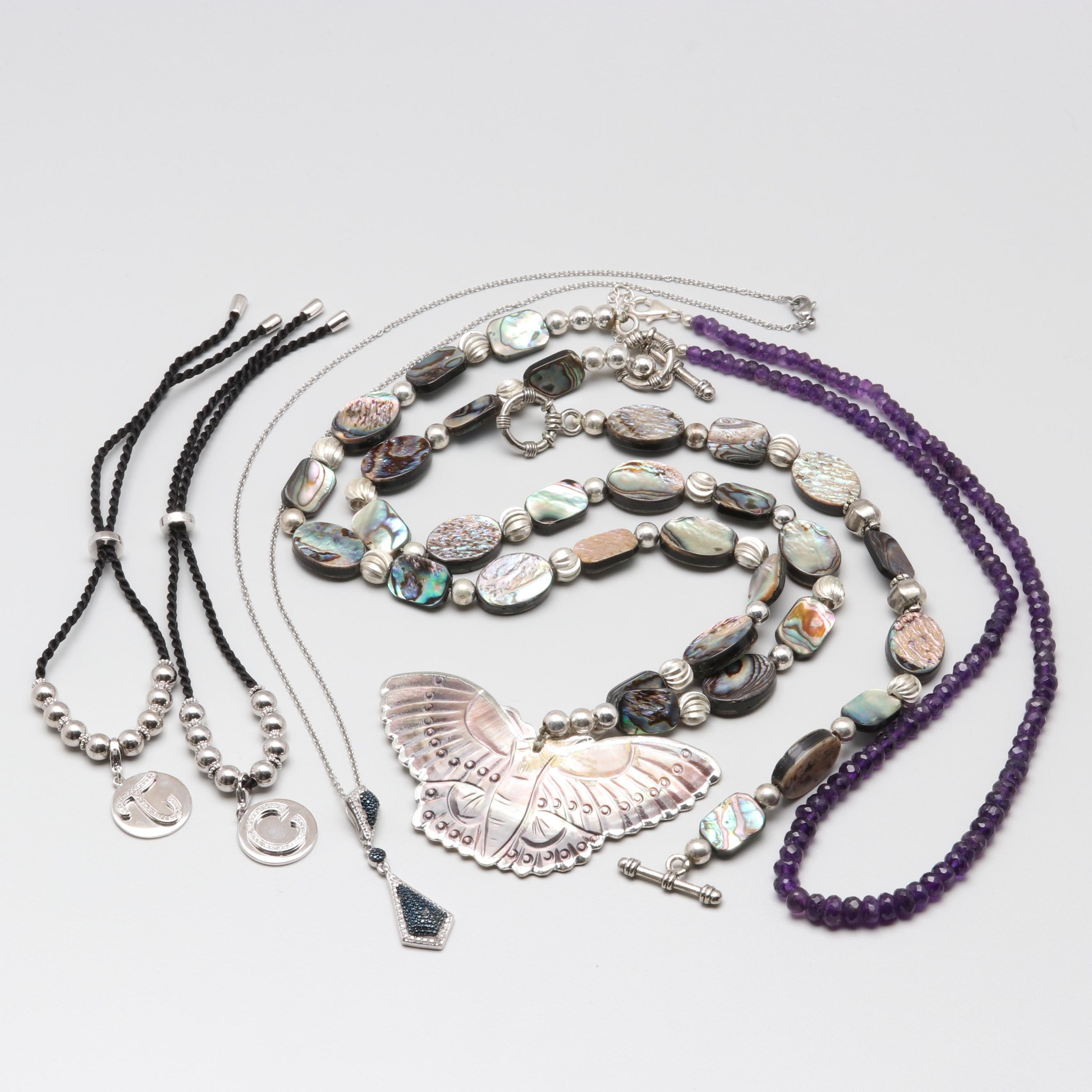 Sterling Silver Jewelry Assortment with Diamond, Abalone, and Amethyst
