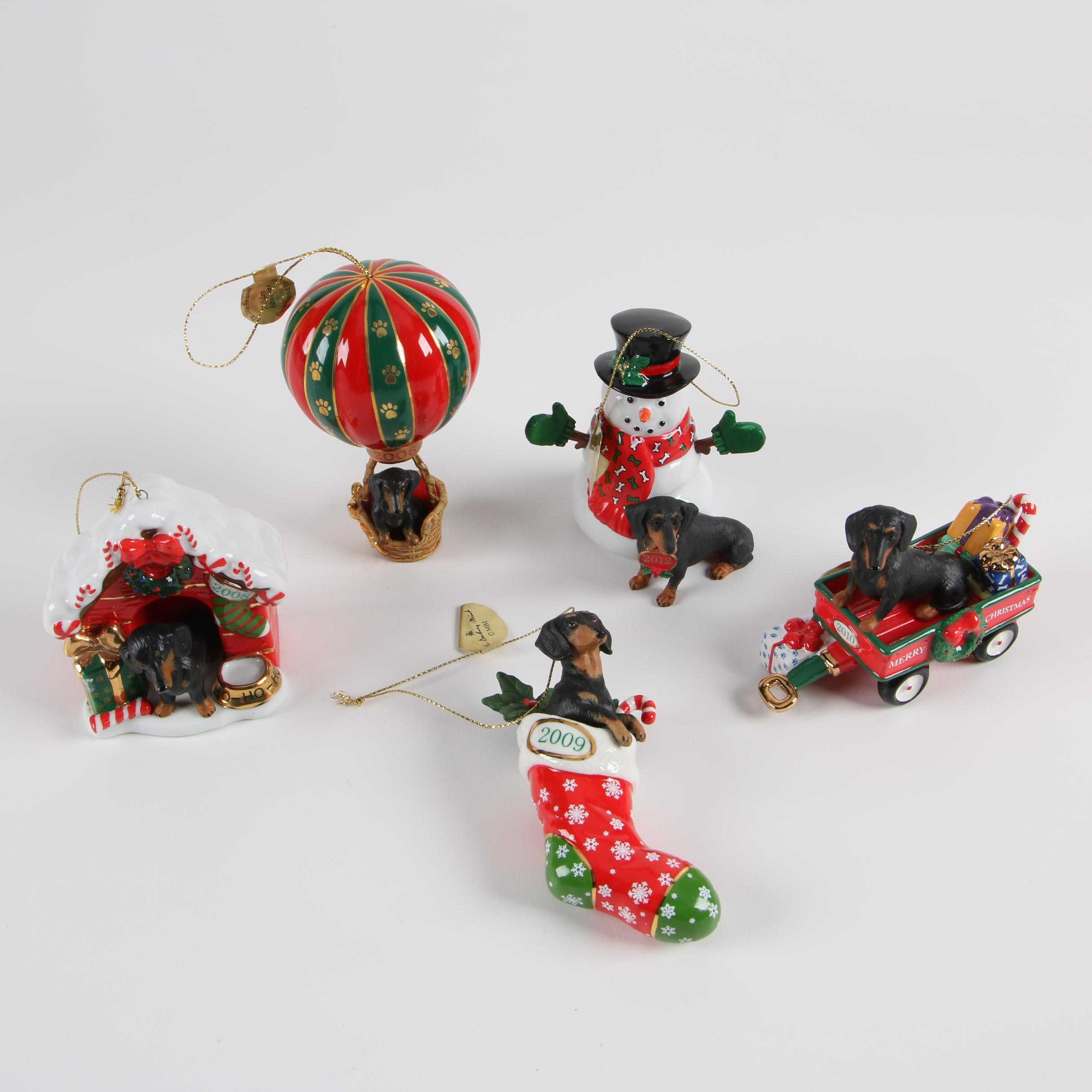 Danbury Mint Annual Porcelain Dachshund Ornaments, 2006-2012