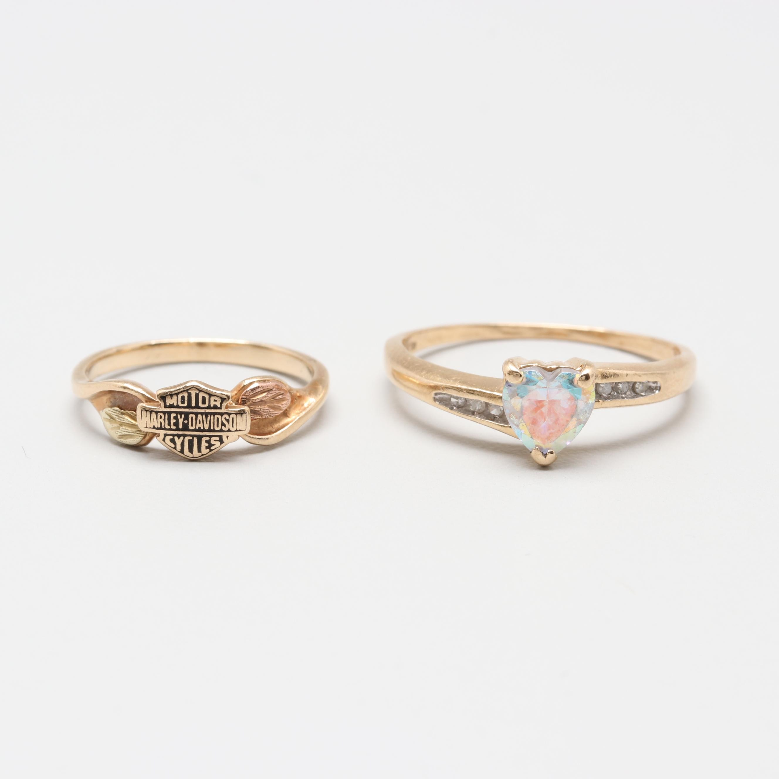 10K and 14K Yellow Gold Glass and Diamond Rings With Harley Davidson