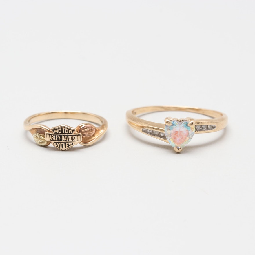 7eda466bd7ca4 10K and 14K Yellow Gold Glass and Diamond Rings With Harley Davidson