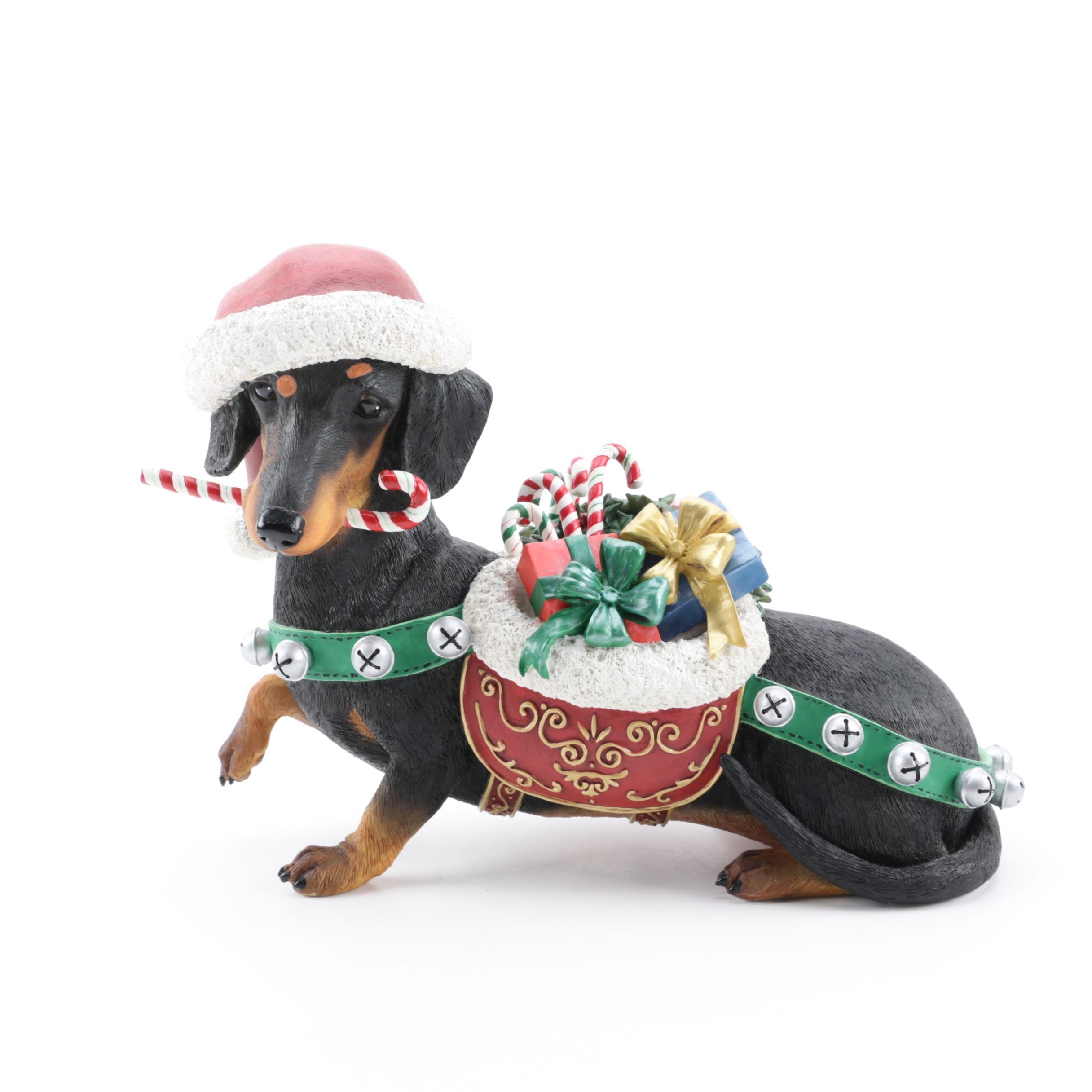 "Danbury Mint ""Christmas Dachshund"" Resin Figurine"