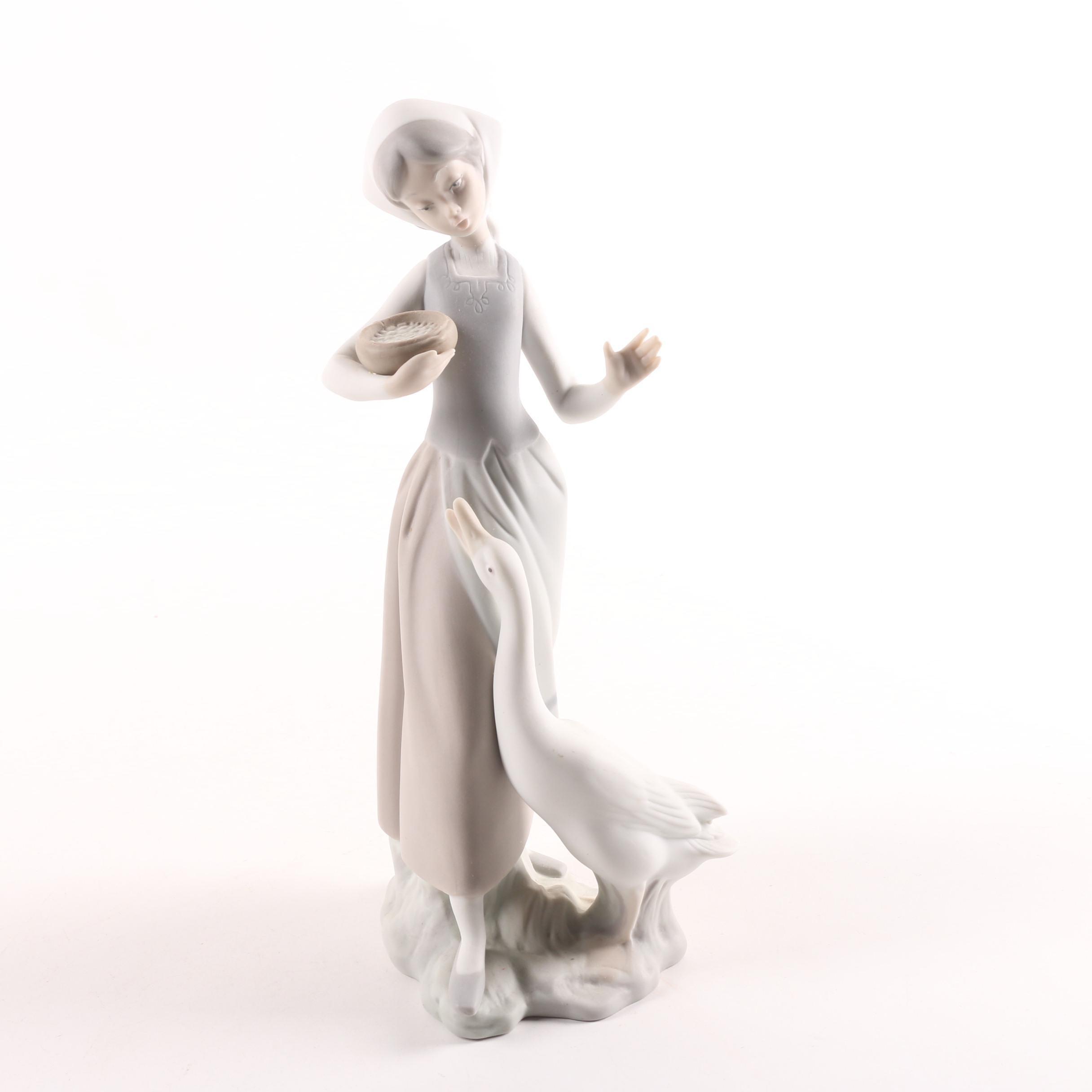 "Lladro ""Girl Feeding Goose"" Bisque Porcelain Figurine"