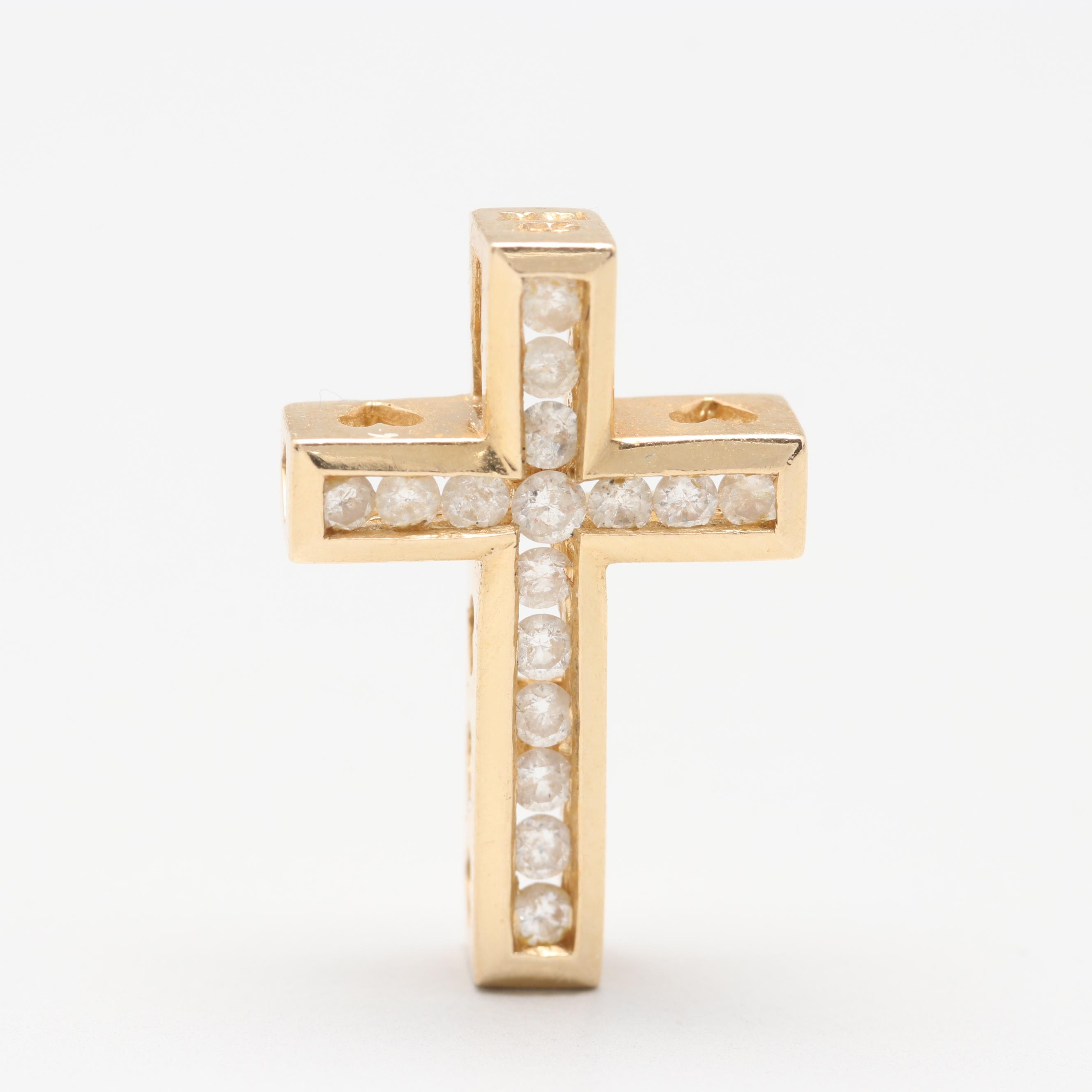 14K Yellow Gold Diamond Cross Slide Pendant