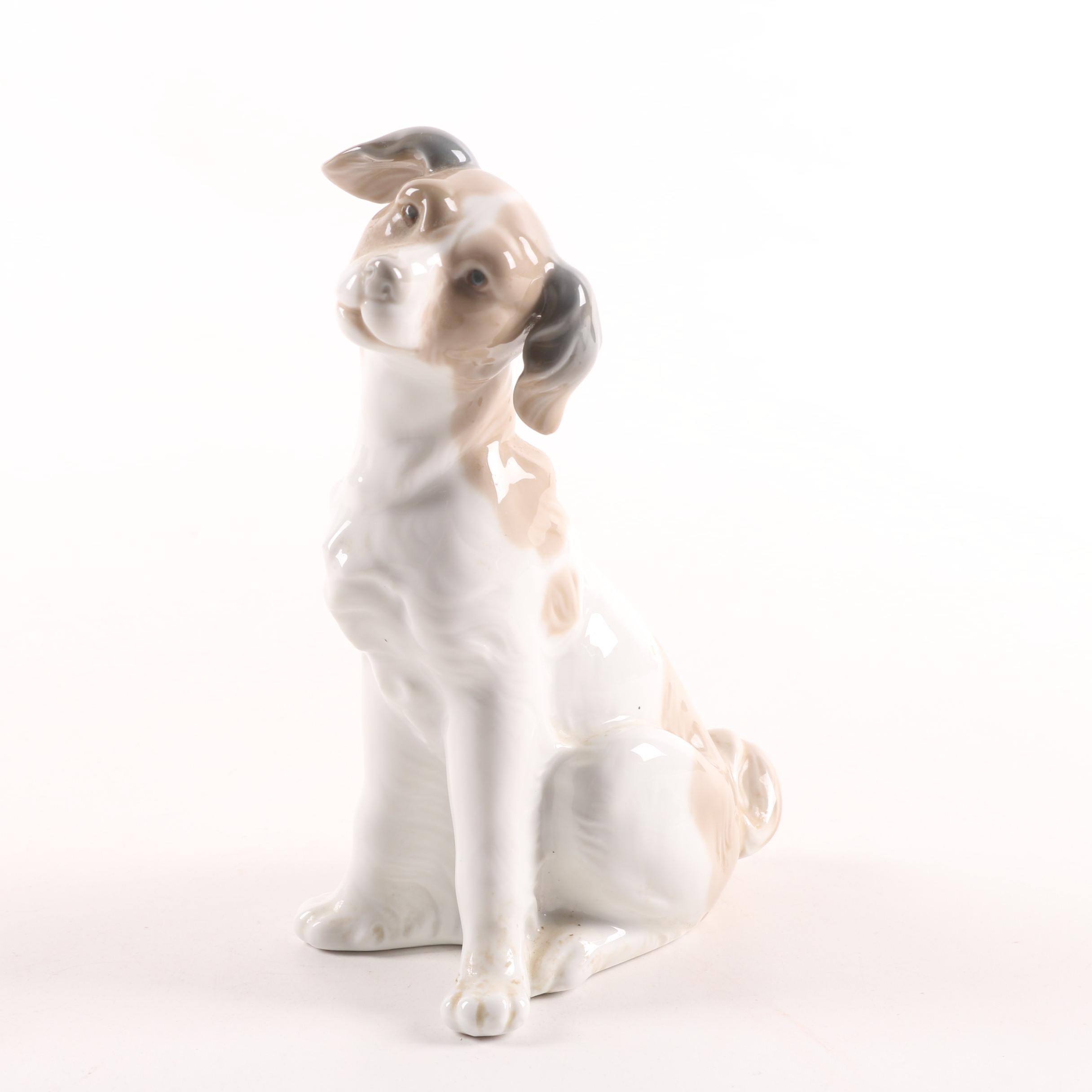 Nao by Lladró Hand-Painted Porcelain Sitting Dog Figurine