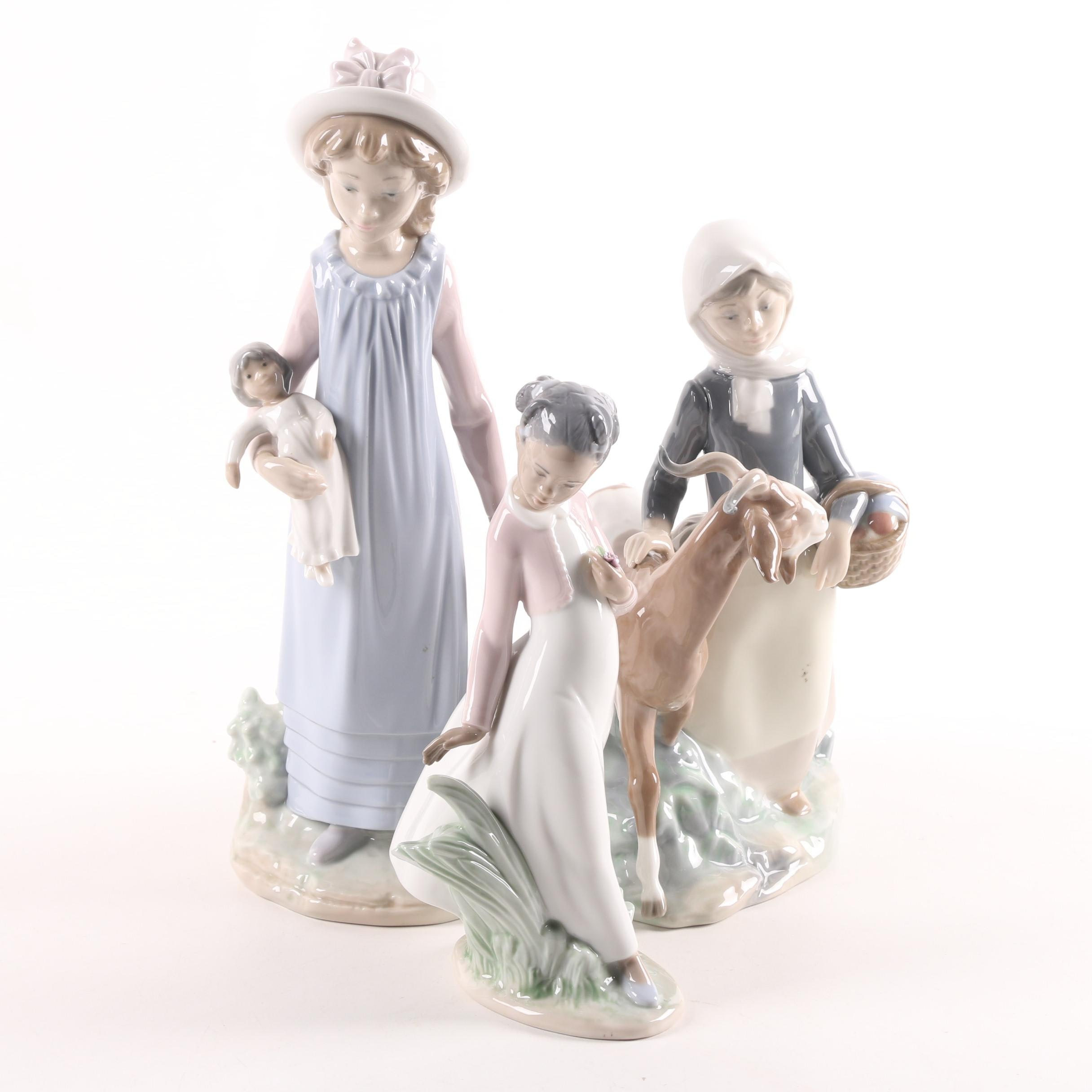 "Lladró Porcelain Figurines Featuring ""Pretty Flowers"""