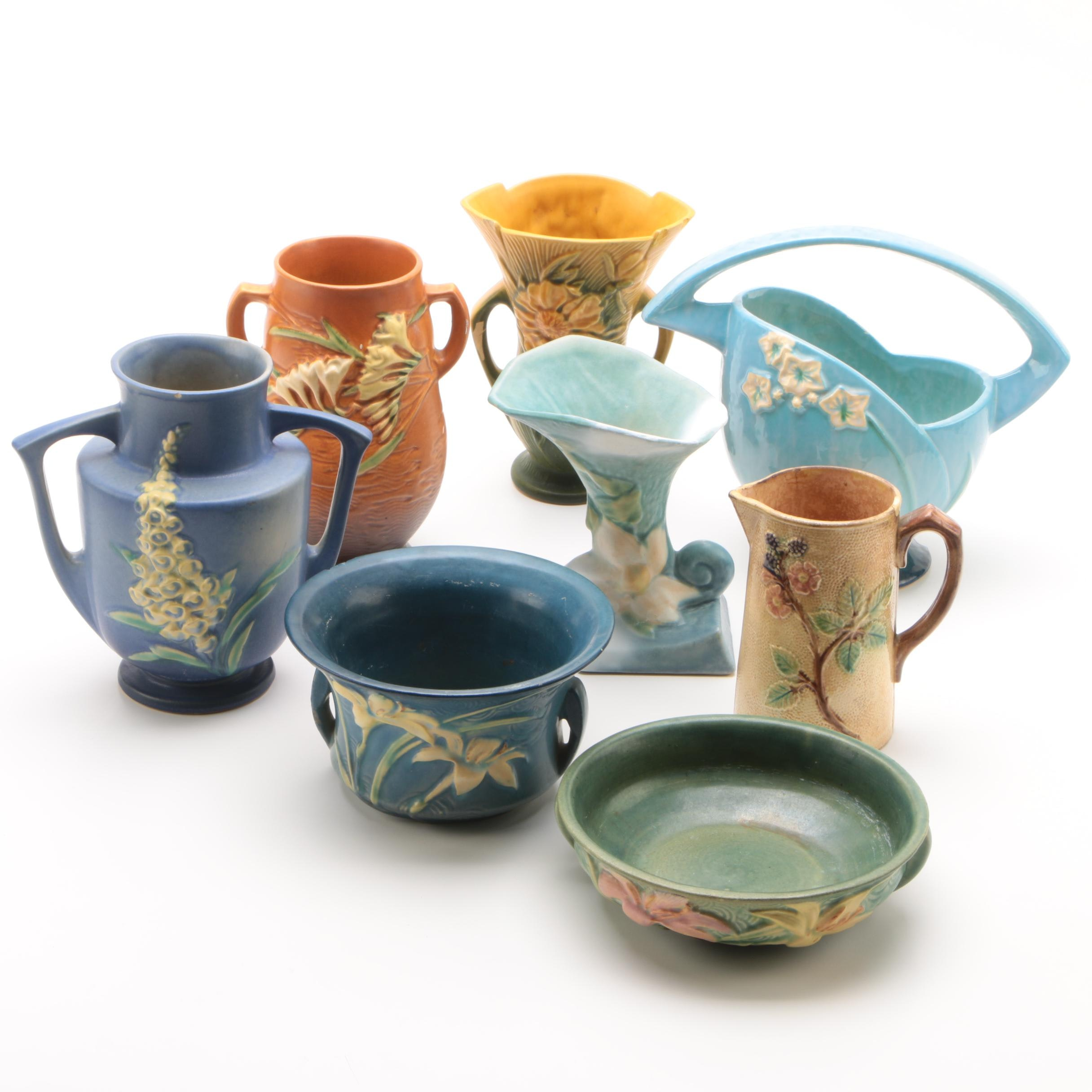 Roseville Pottery with Antique Majolica Pitcher