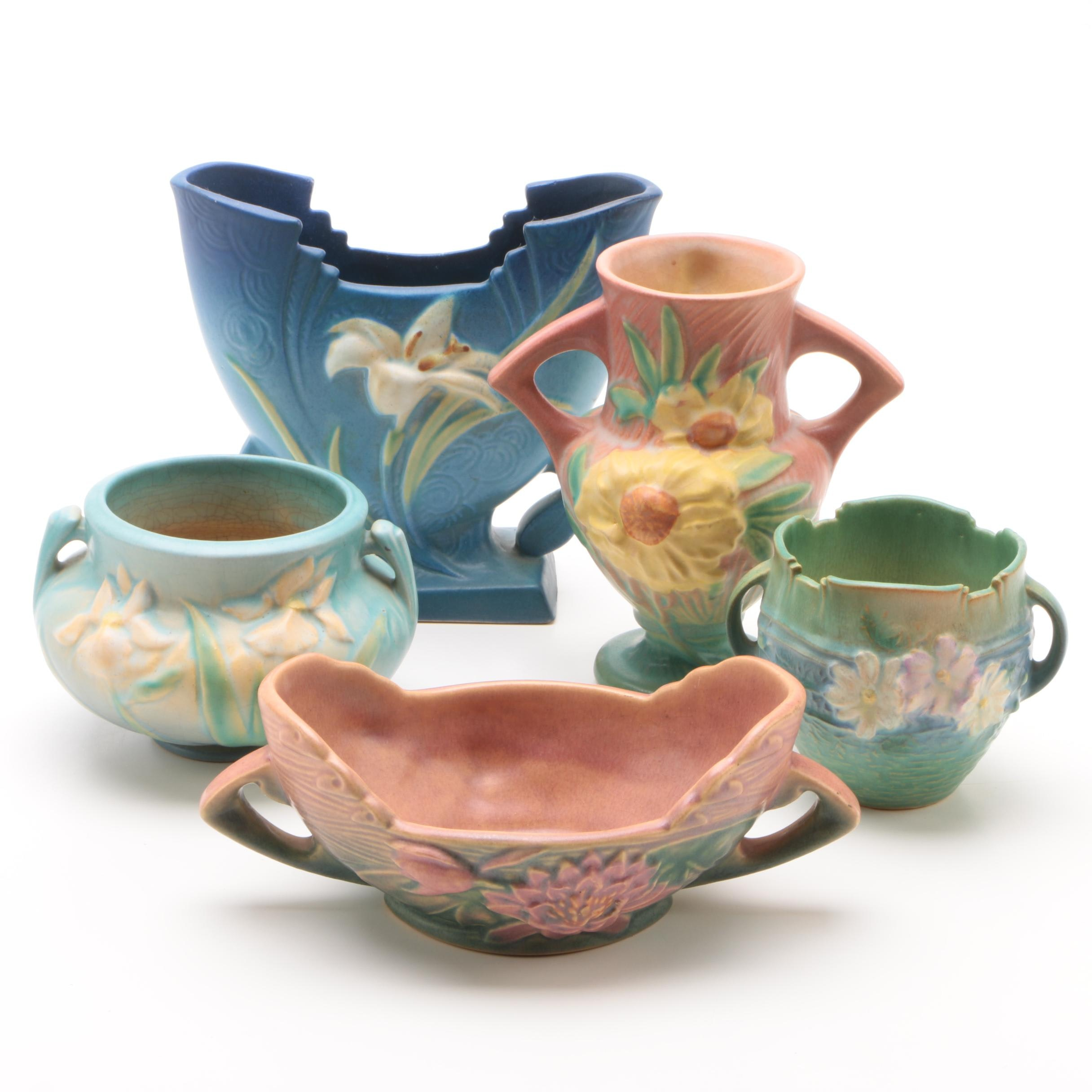 """1950s Roseville Pottery Vases and Planters Including """"Zephyr Lily"""""""