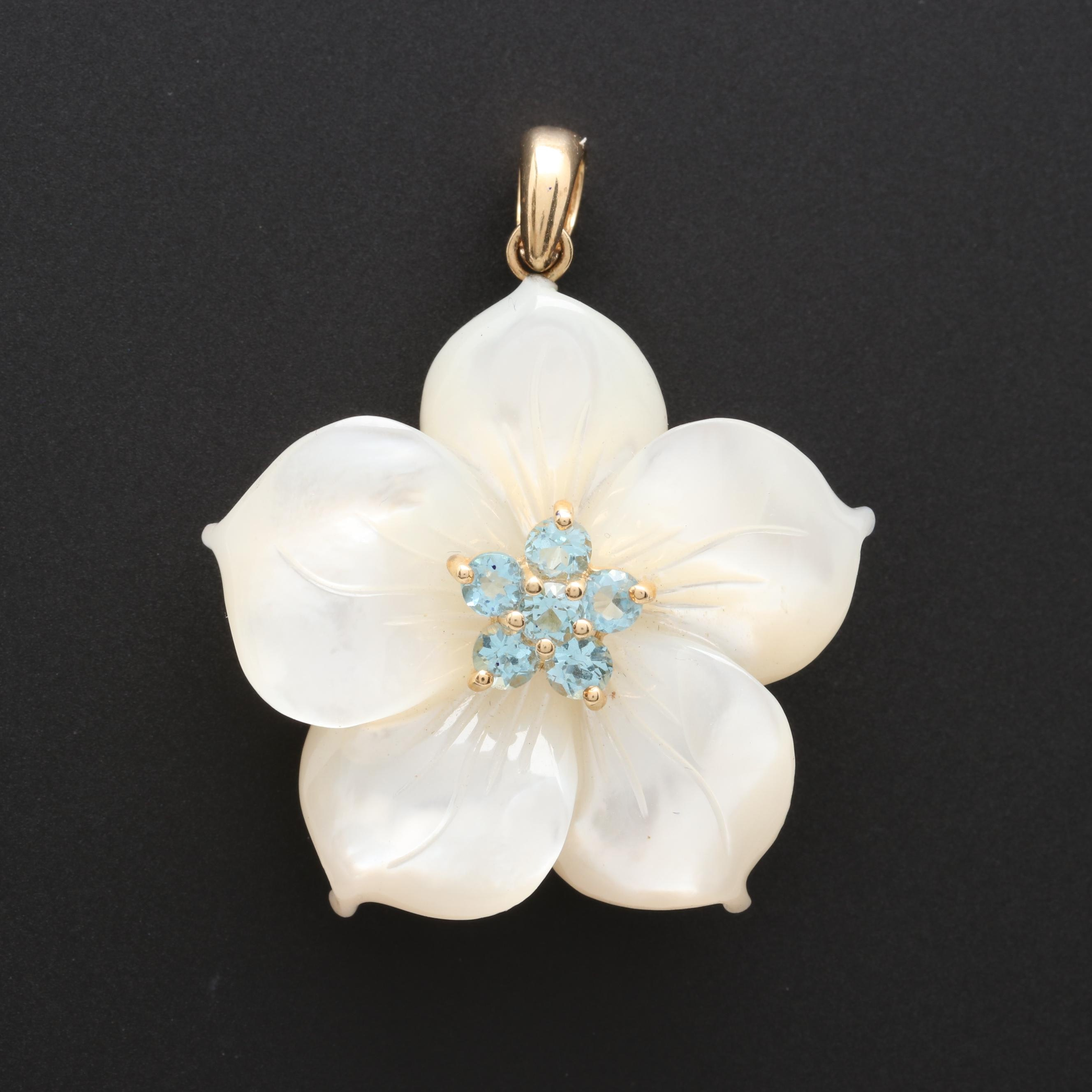 14K Yellow Gold Mother of Pearl and Blue Topaz Pendant