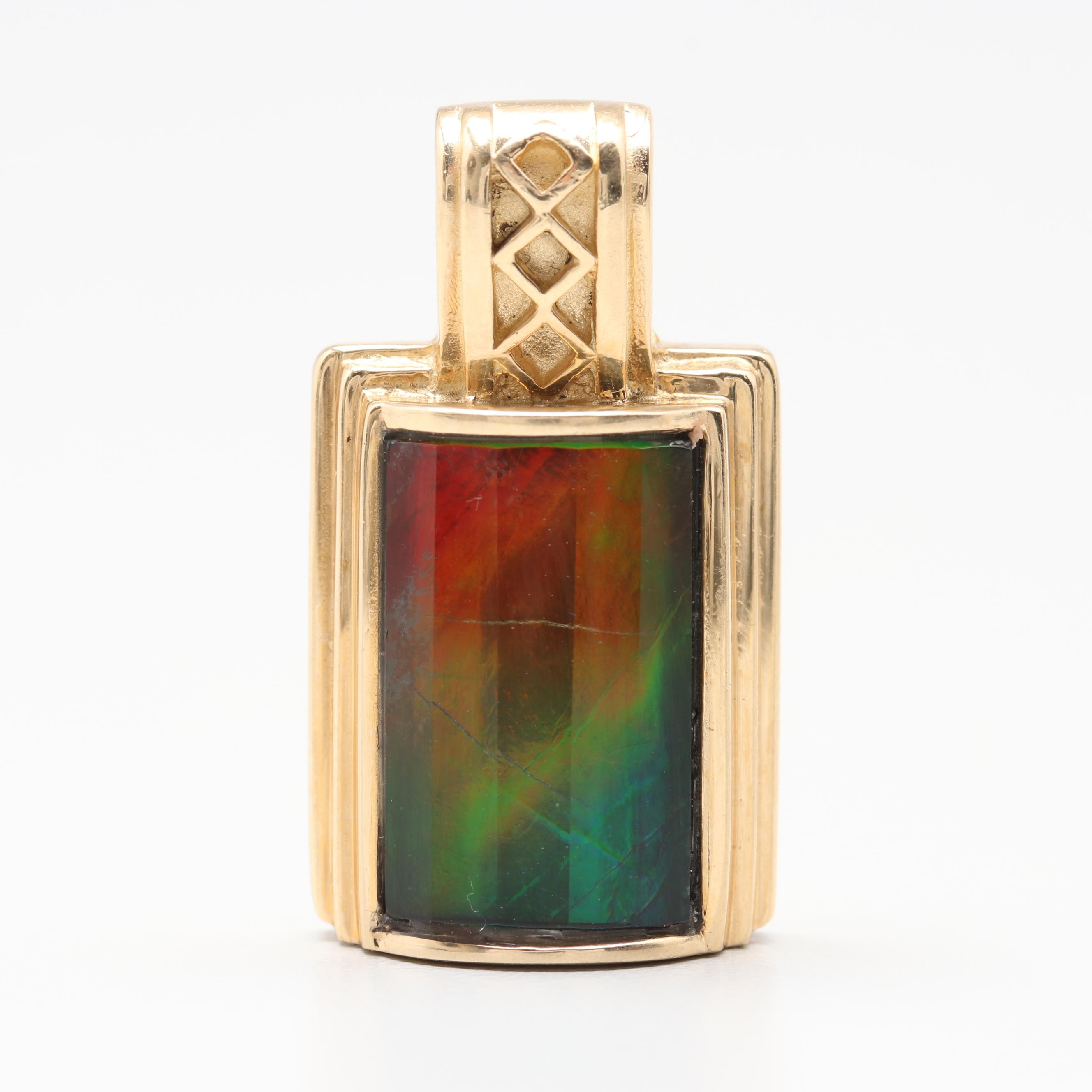 14K Yellow Gold Ammolite Pendant