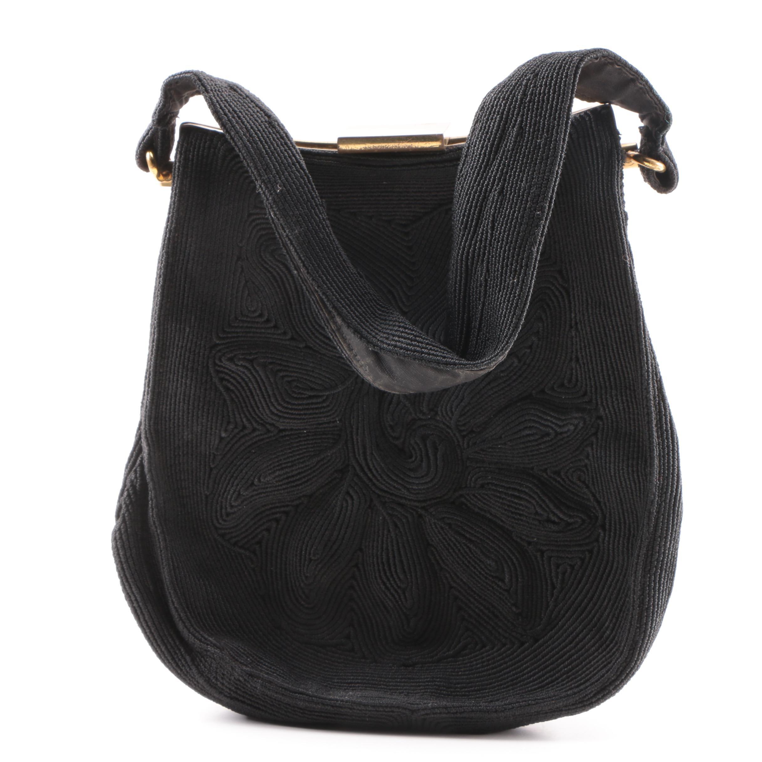 1940s Vintage Black Corde Soutache Handbag