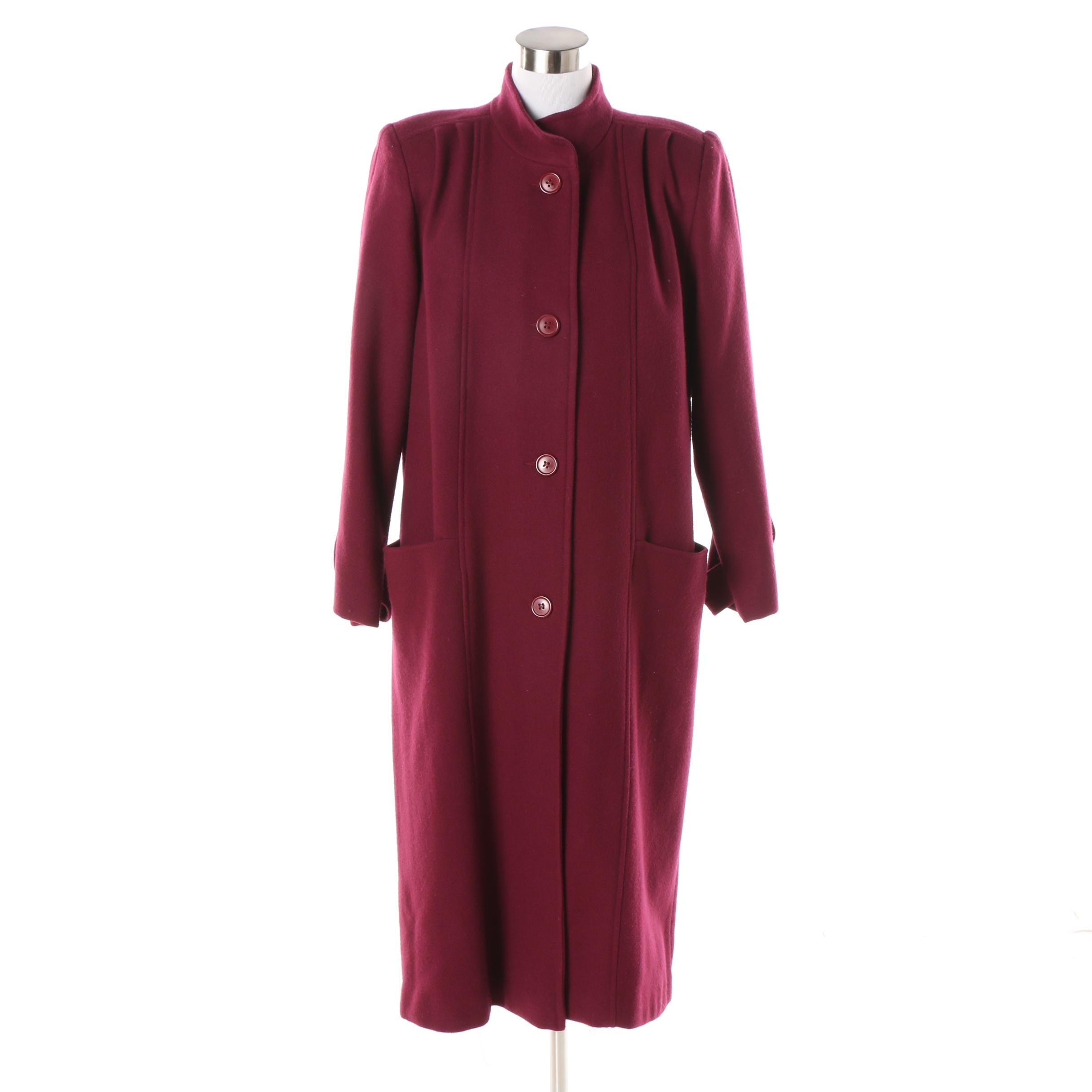 Women's Vintage Miss Bobbie Maroon Wool Coat
