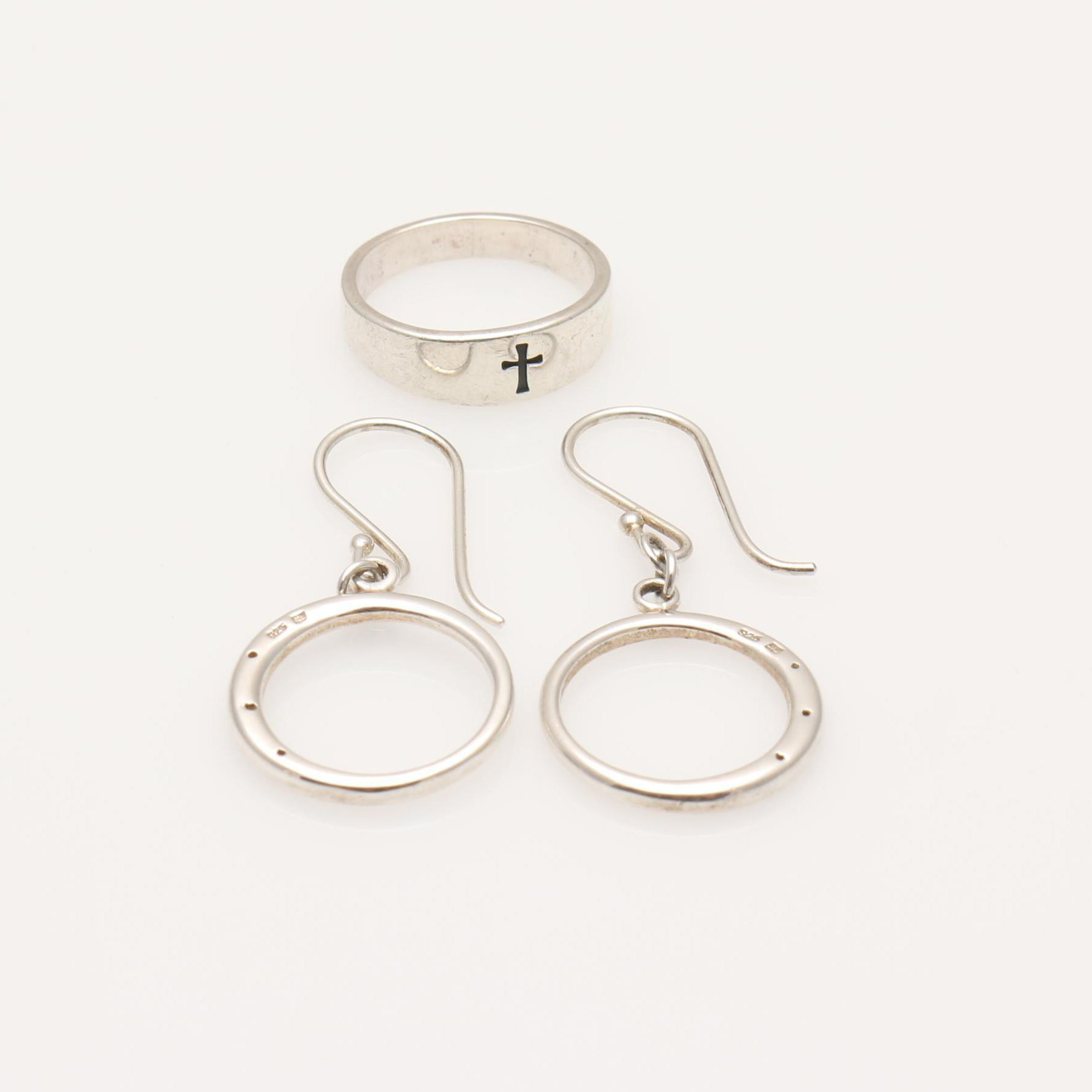 Sterling Silver Diamond Earrings and James Avery Ring