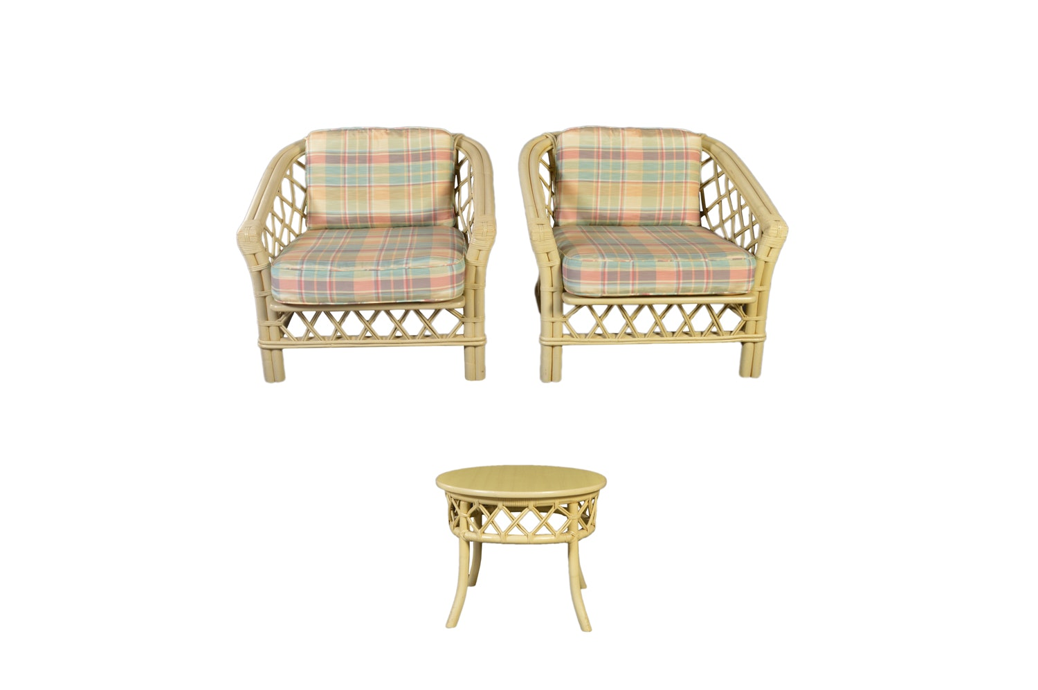 Rattan Armchairs and Side Table by Ficks Reed