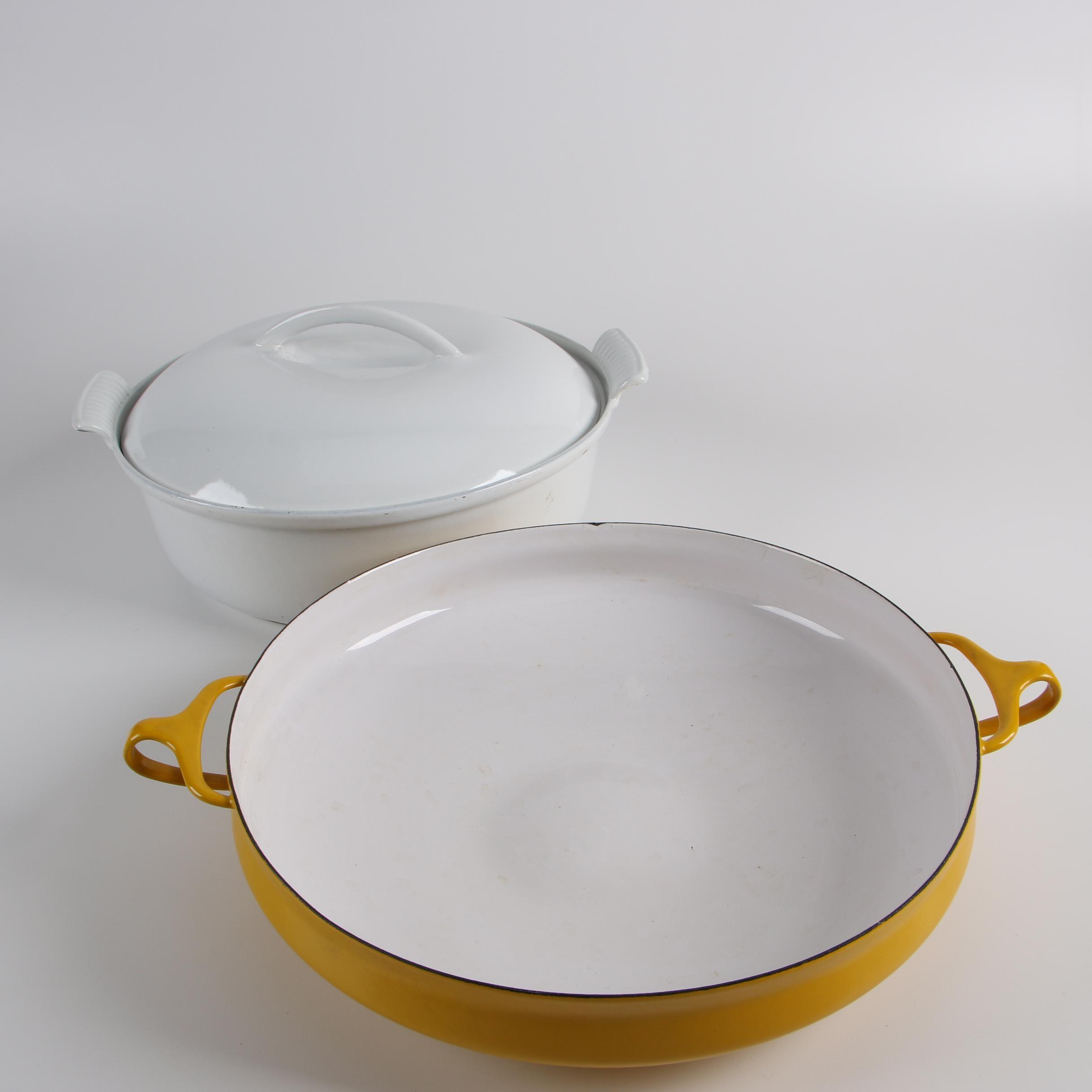 "Dansk ""Kobenstyle"" Yellow Enameled Paella Pan and Dru Holland Casserole Dish"