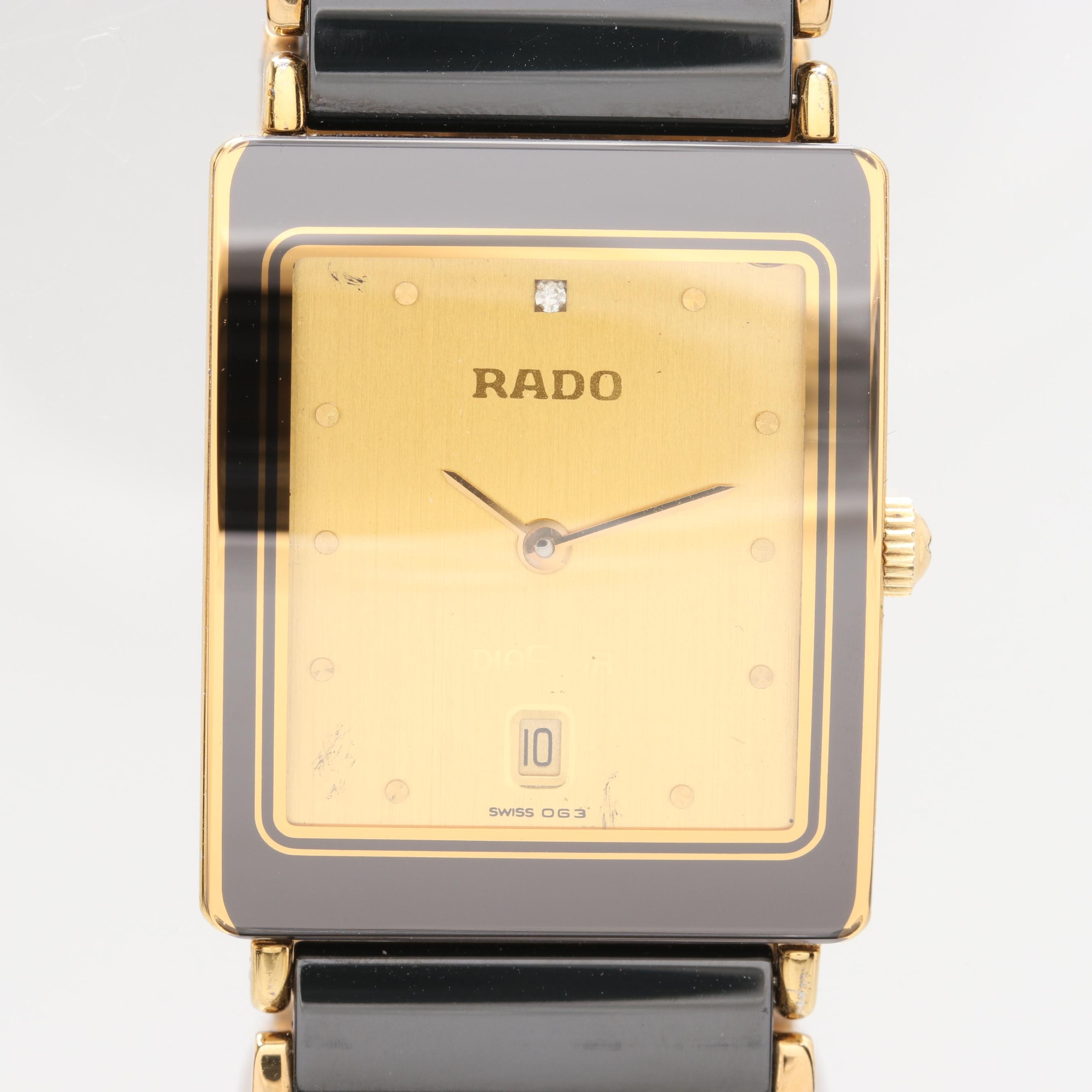 "Rado ""DiaStar"" Stainless Steel and Ceramic Wristwatch"