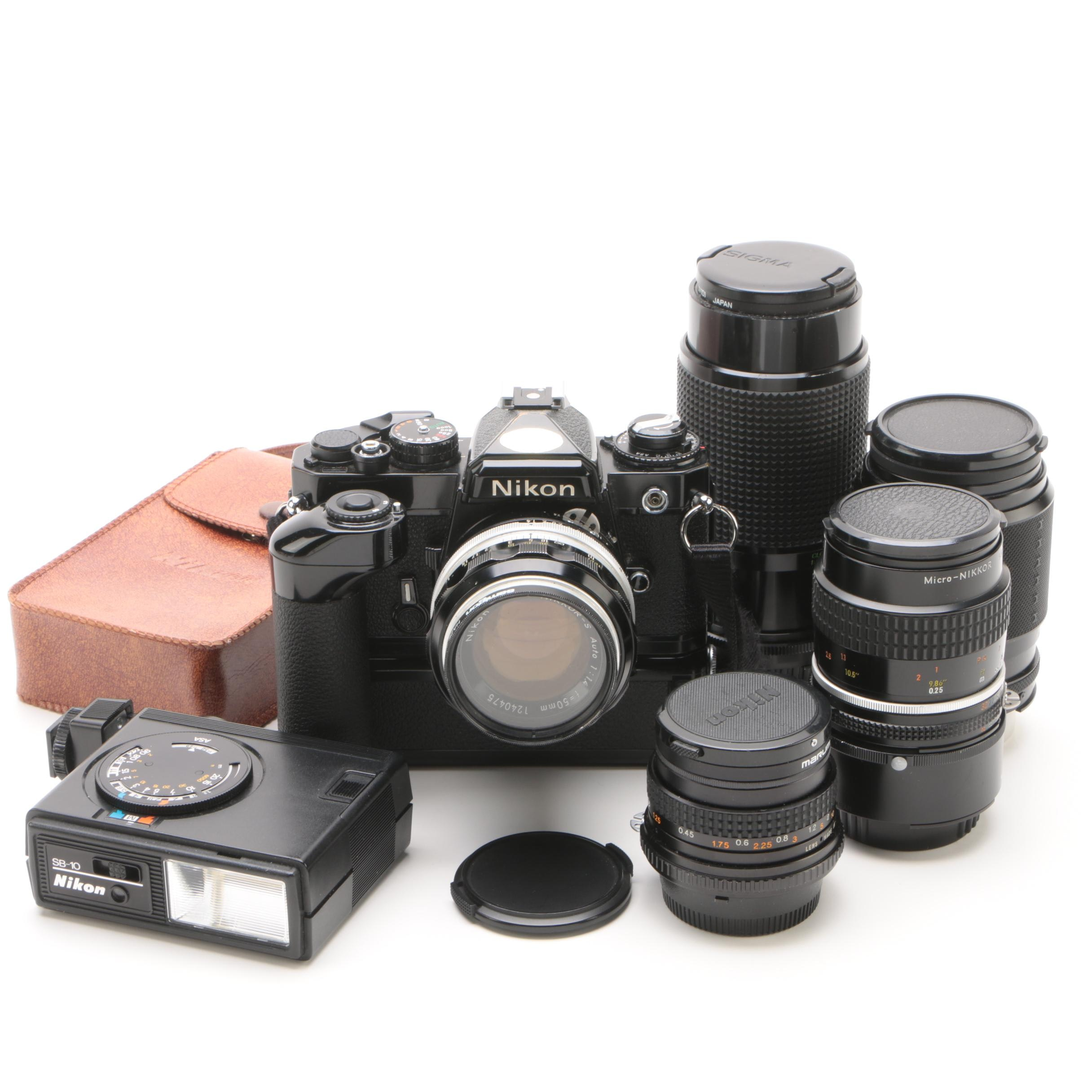 Nikon FE Camera with Motor Drive, Lens Attachments, and Flash