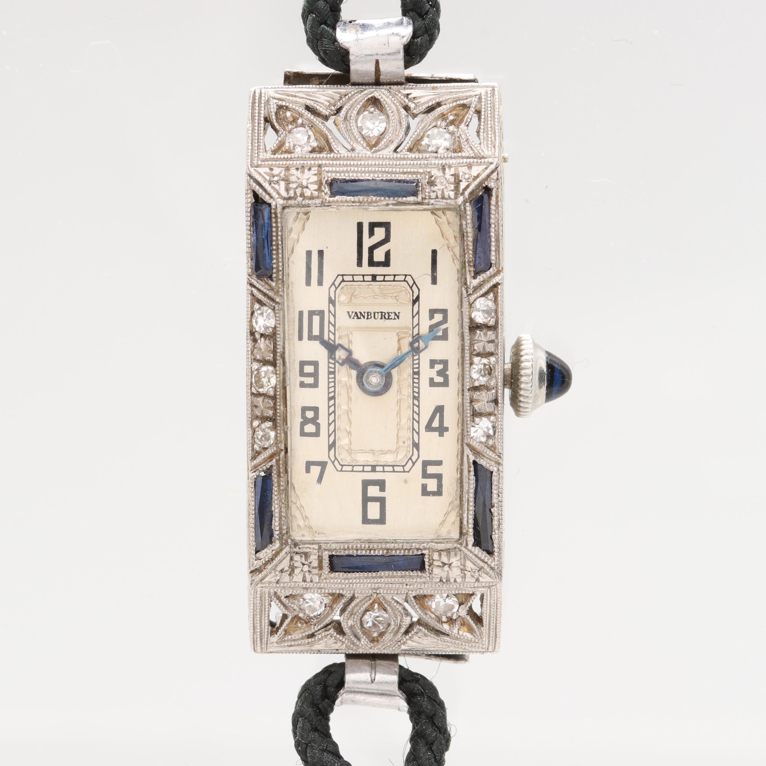 Art Deco Van Buren 14K and 18K Gold Diamond and Synthetic Sapphire Wristwatch
