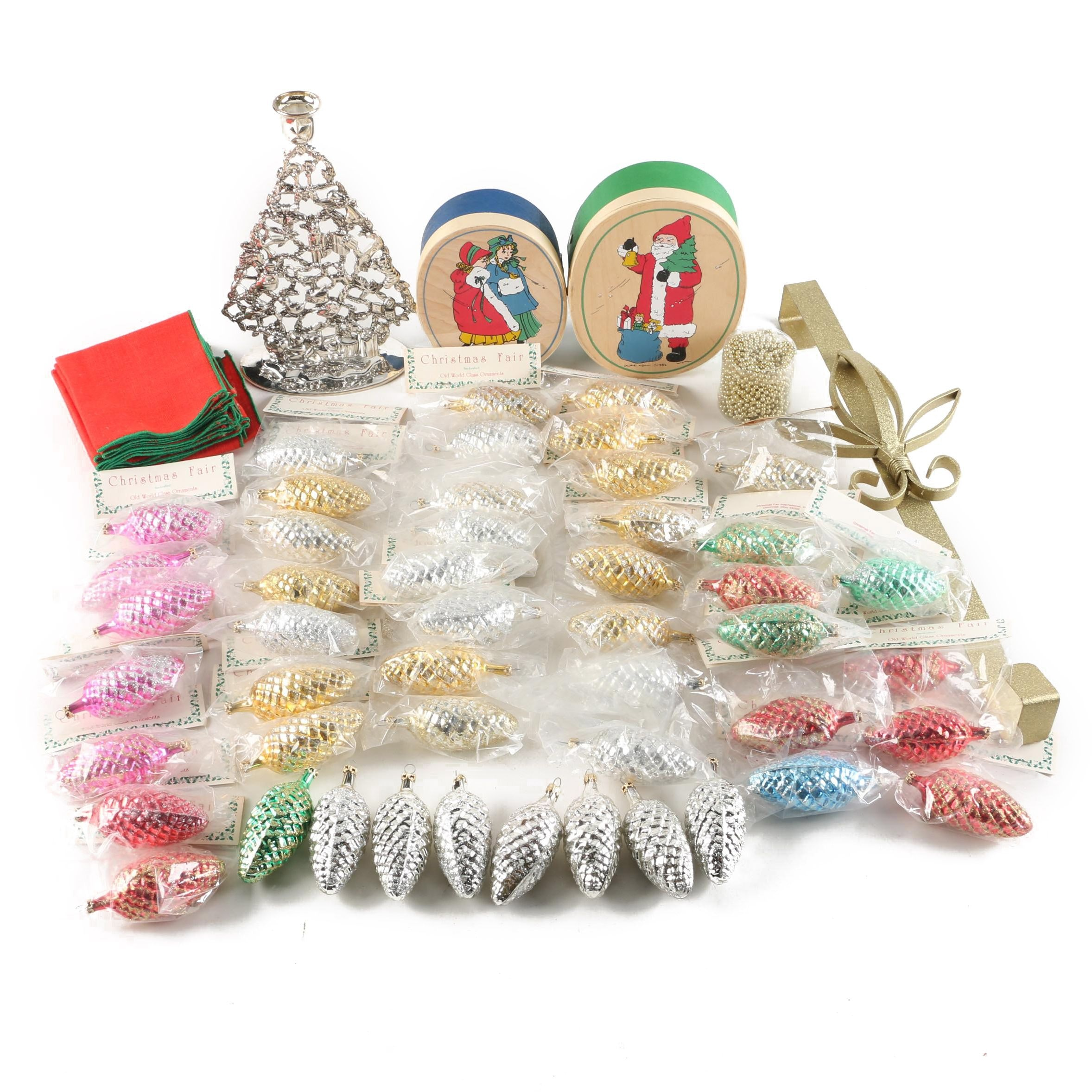 Vintage Christmas Fair Glass Pinecone Ornaments